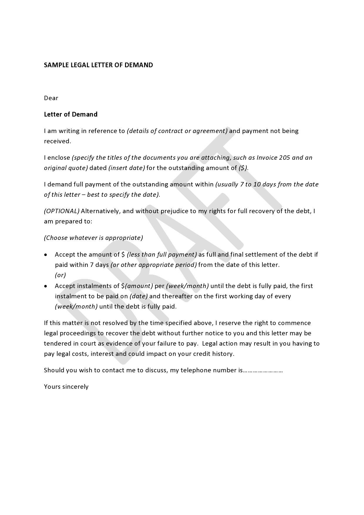 Free legal letter format 46