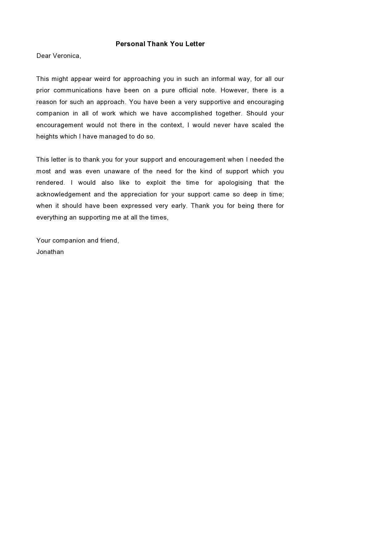 Free personal letter format 09