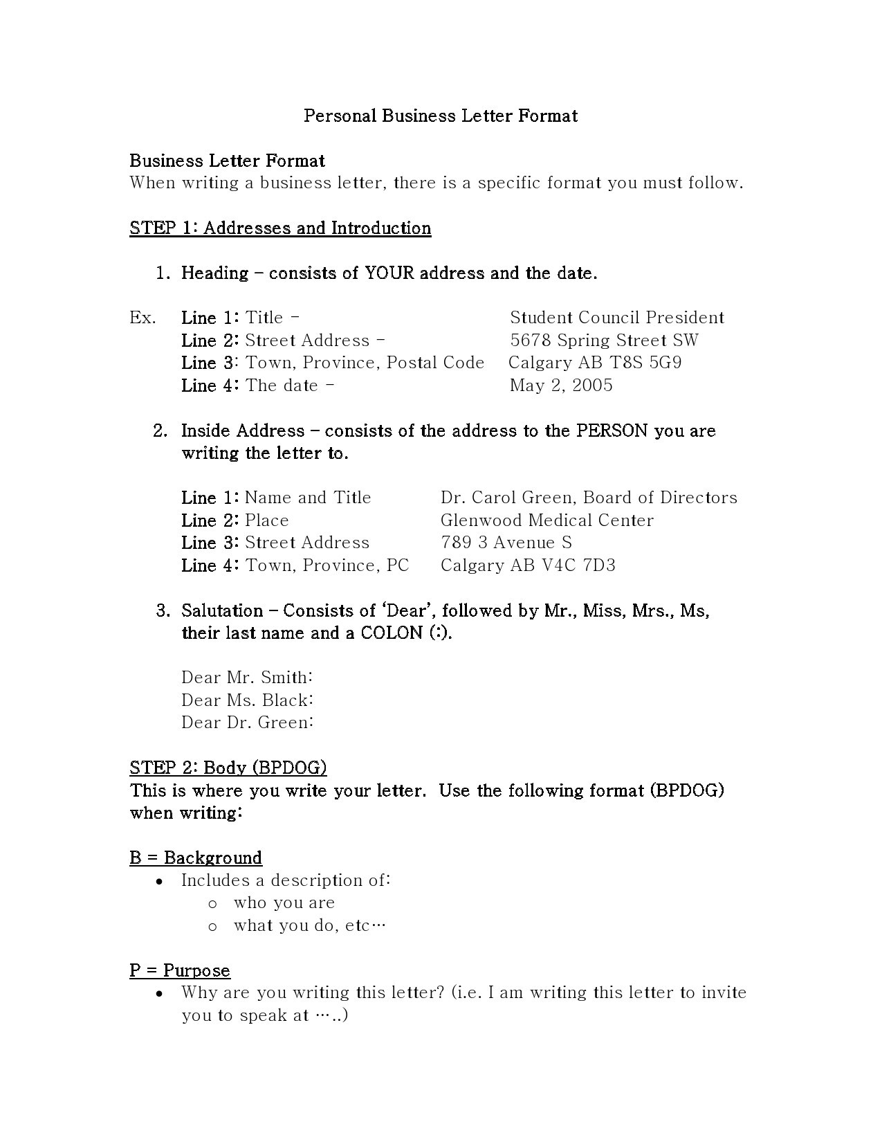 Free personal letter format 11