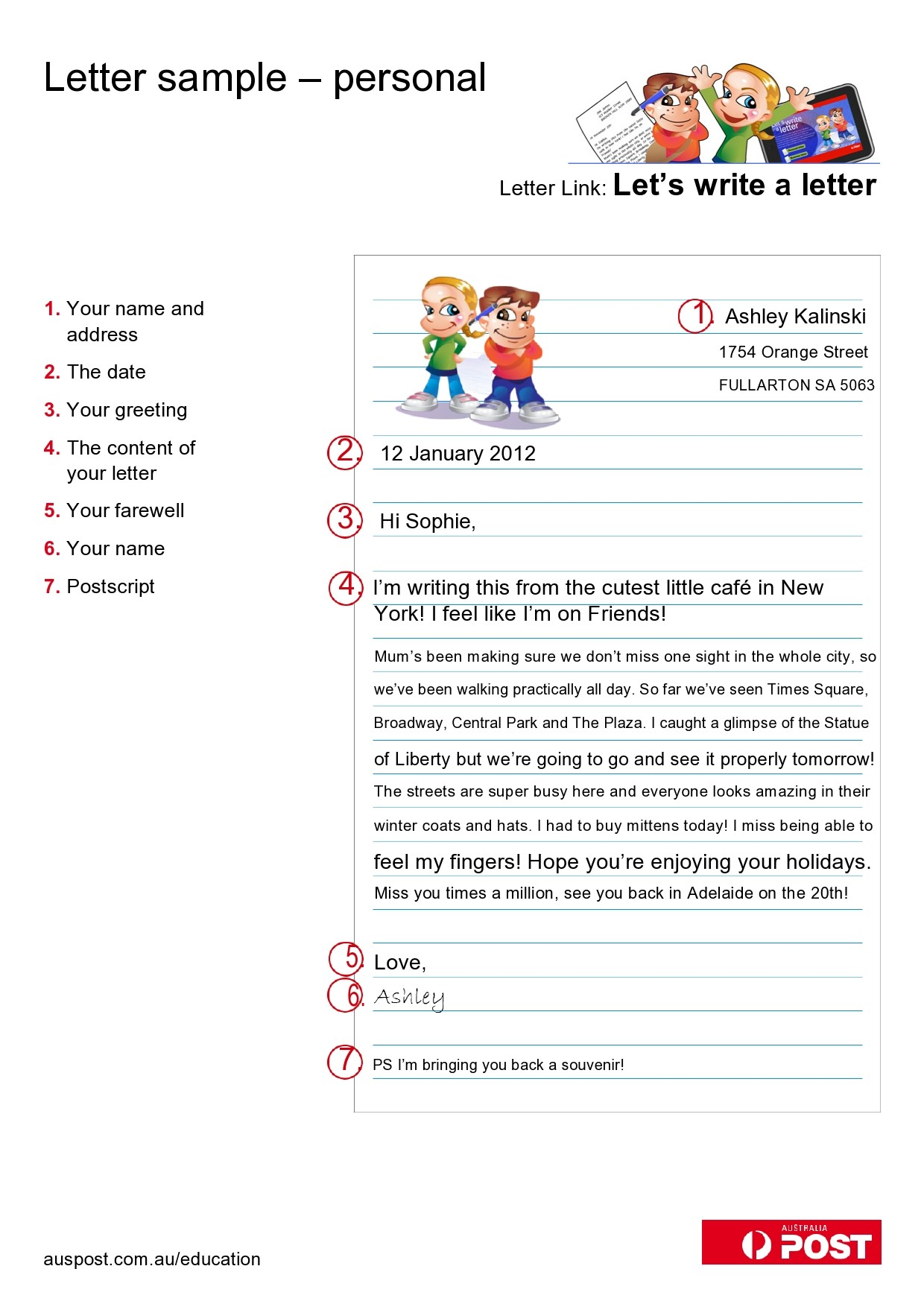 Free personal letter format 14