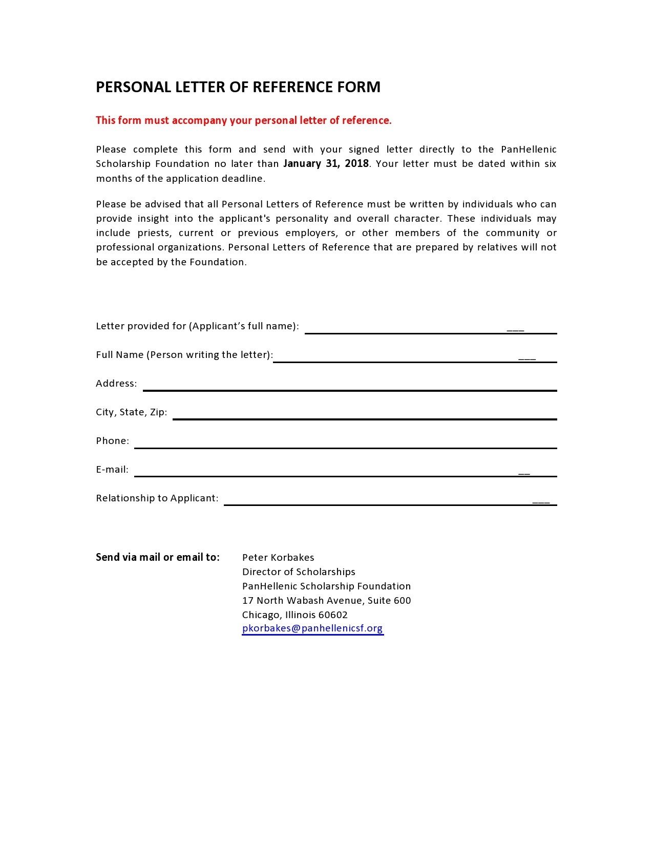 Free personal letter format 15