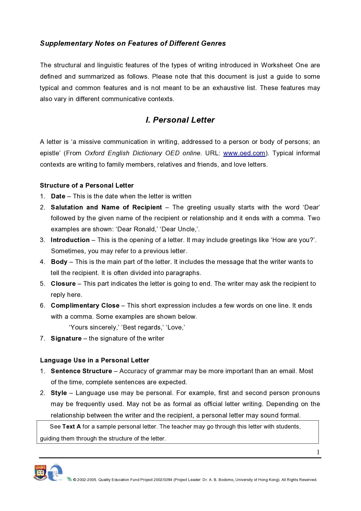 Free personal letter format 20