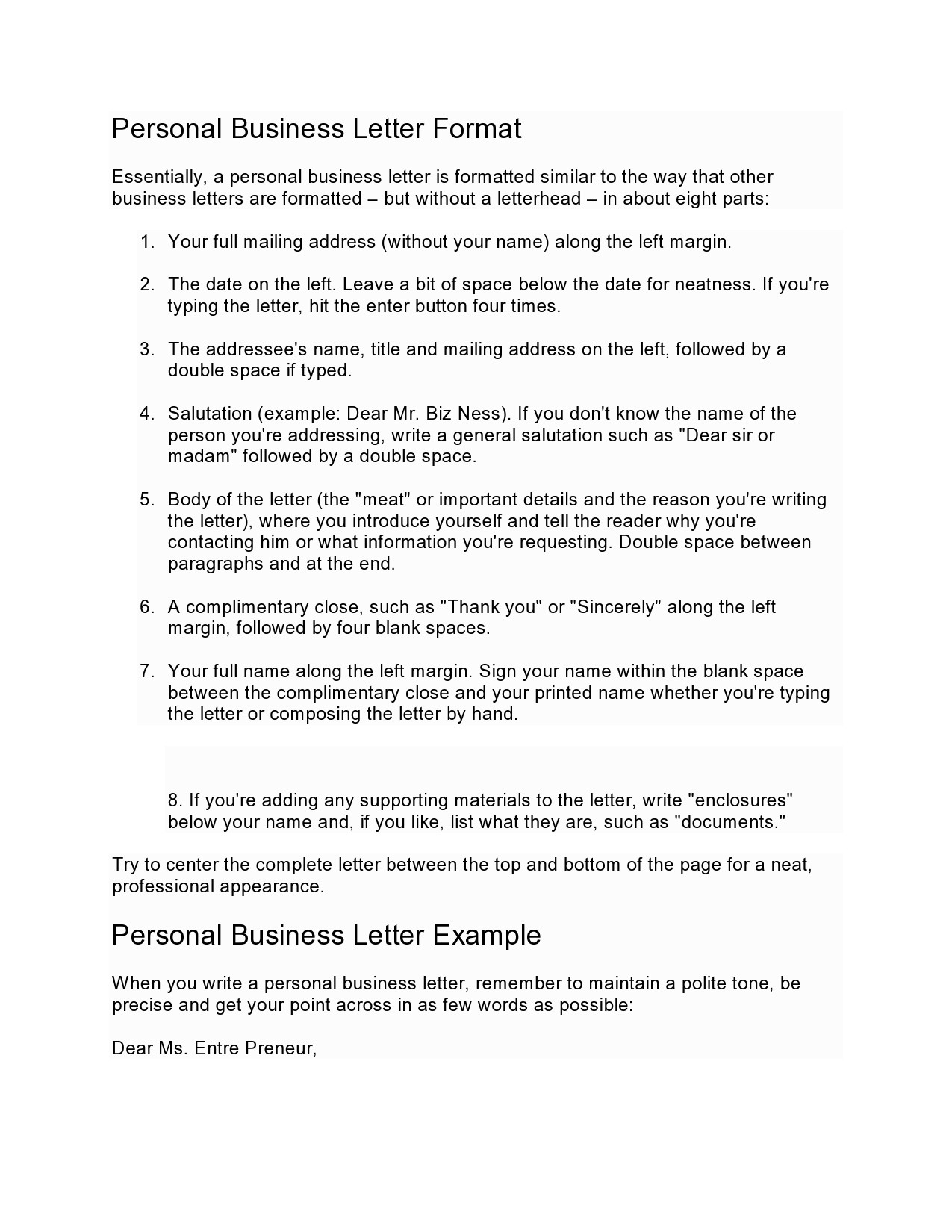 Free personal letter format 25