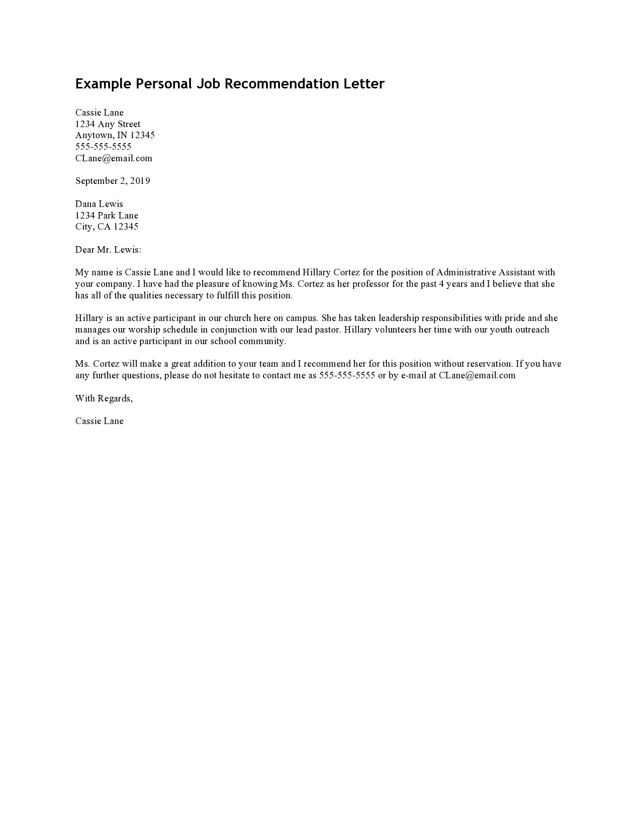 Free personal letter format 28