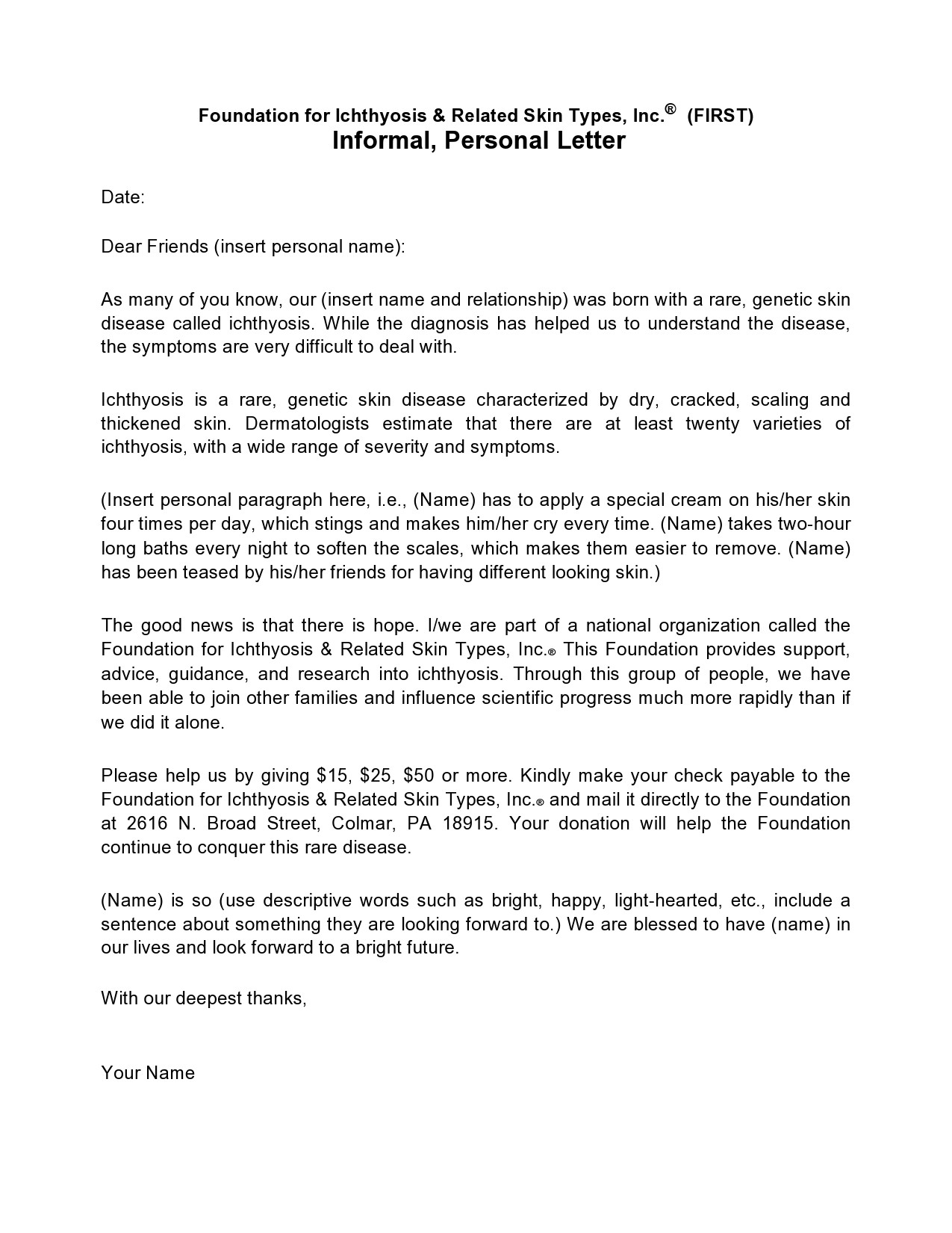 Free personal letter format 47
