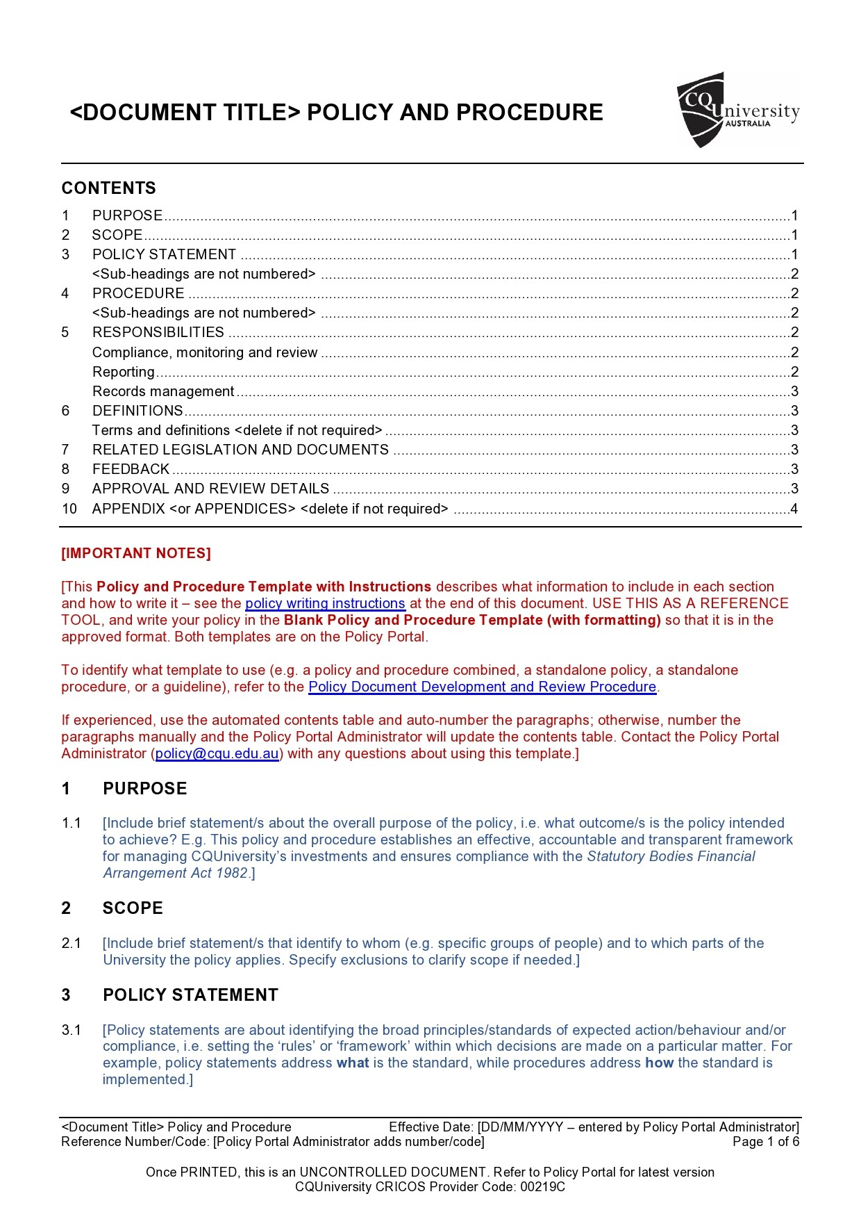 Free policy and procedure template 02