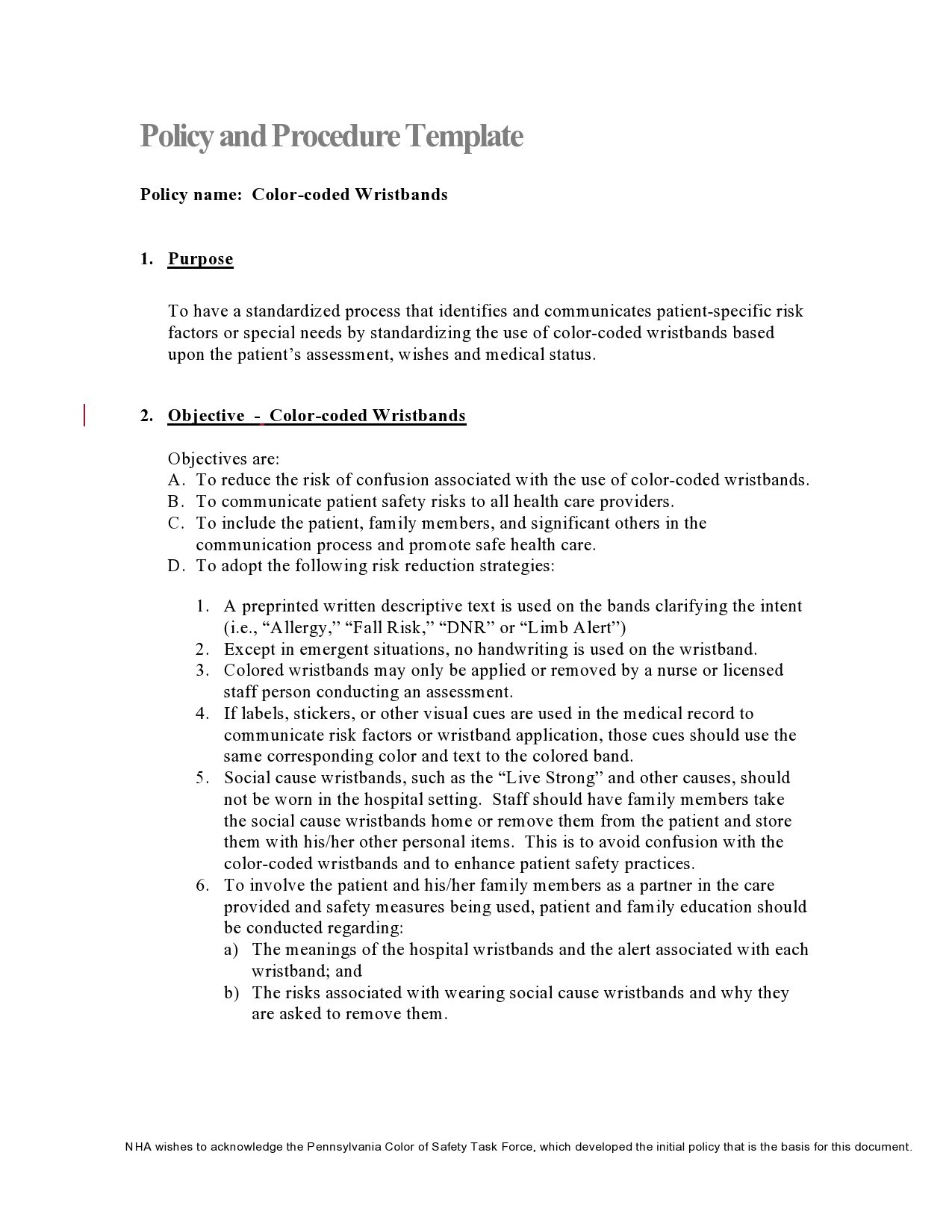Free policy and procedure template 06