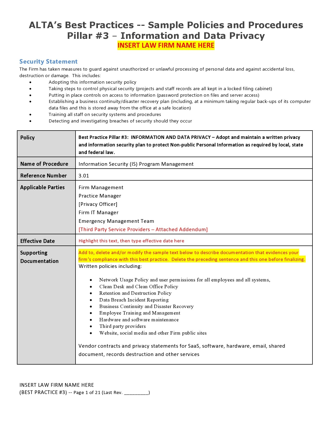 Free policy and procedure template 15