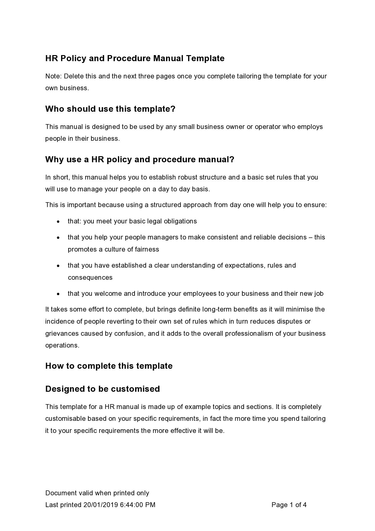 Free policy and procedure template 29