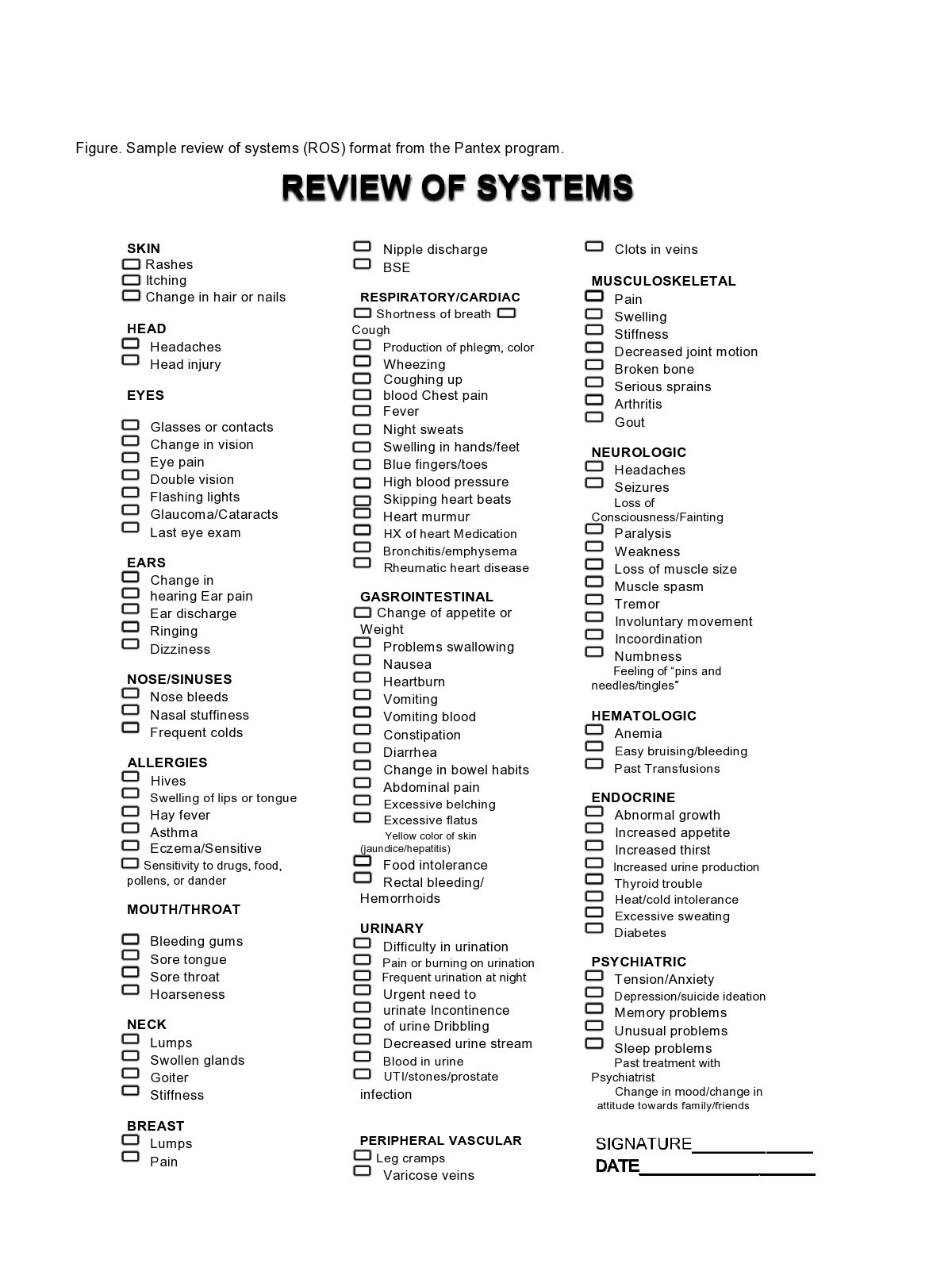 Free review of systems template 03