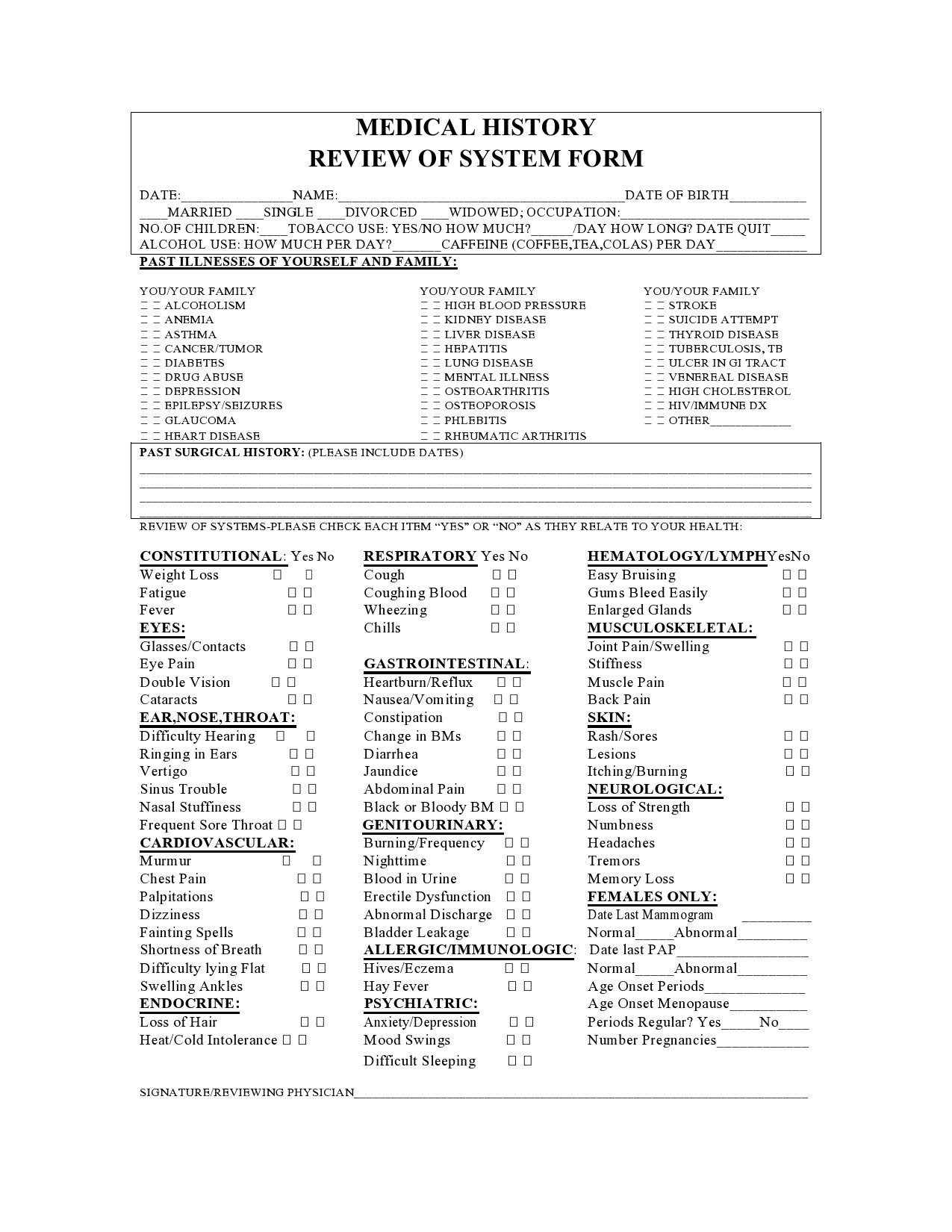 Free review of systems template 06