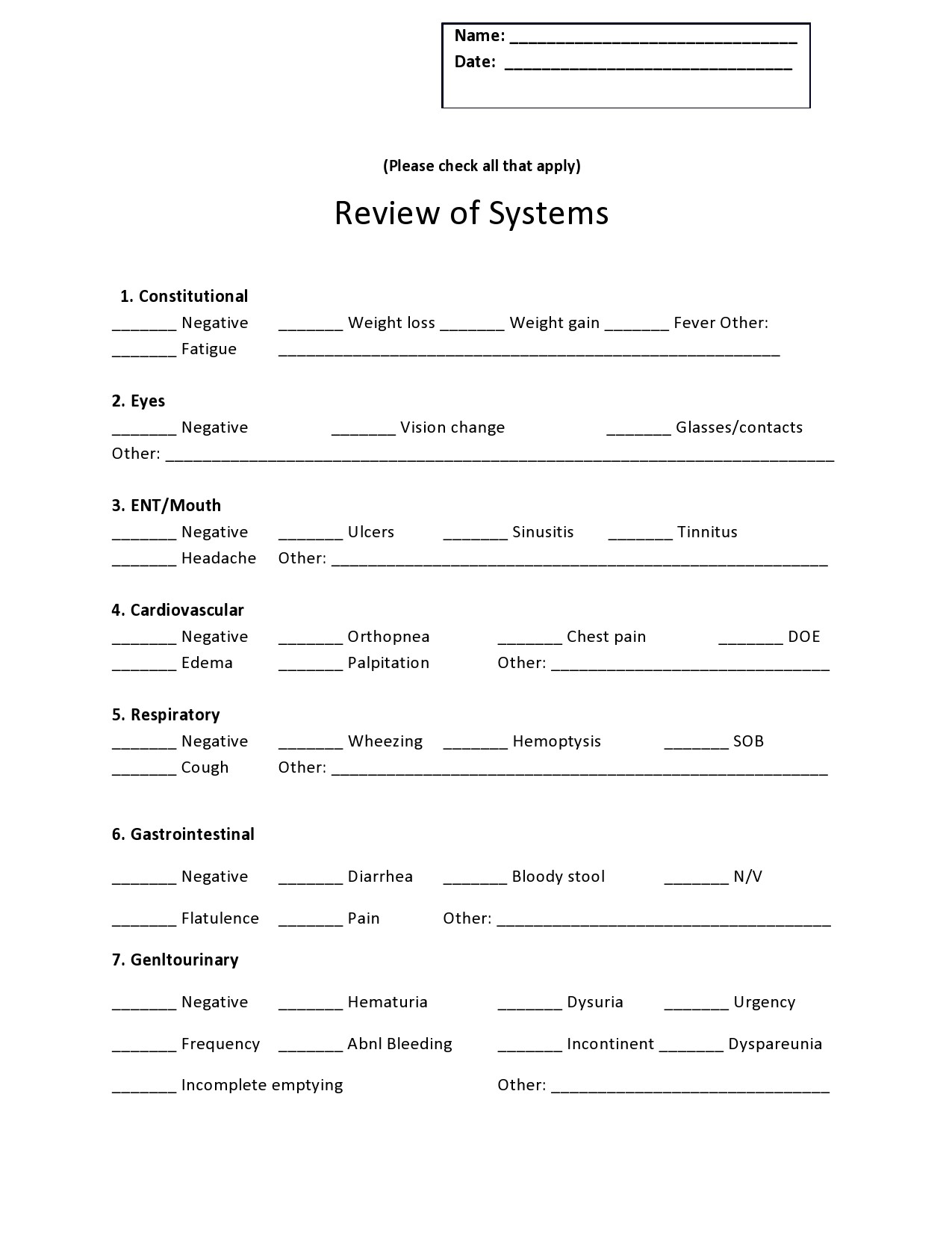 Free review of systems template 32