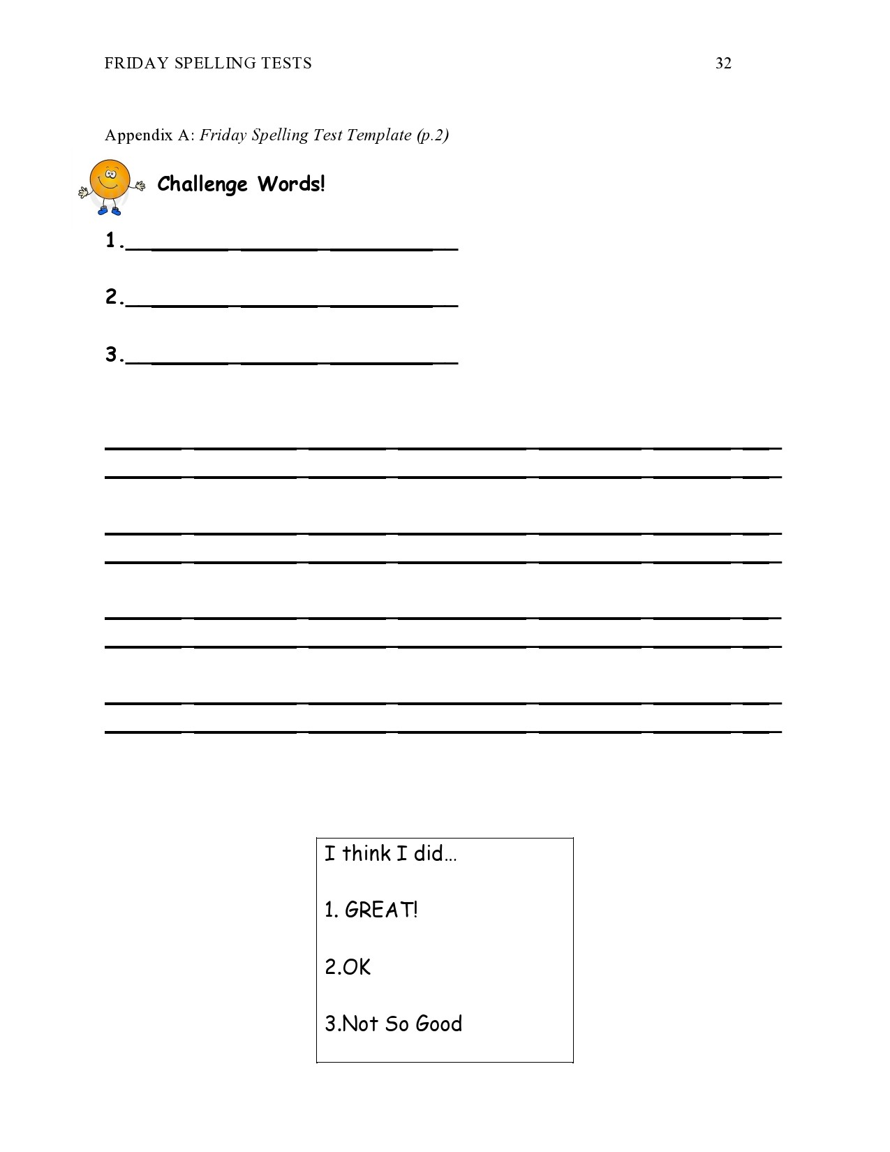 Free spelling test template 23