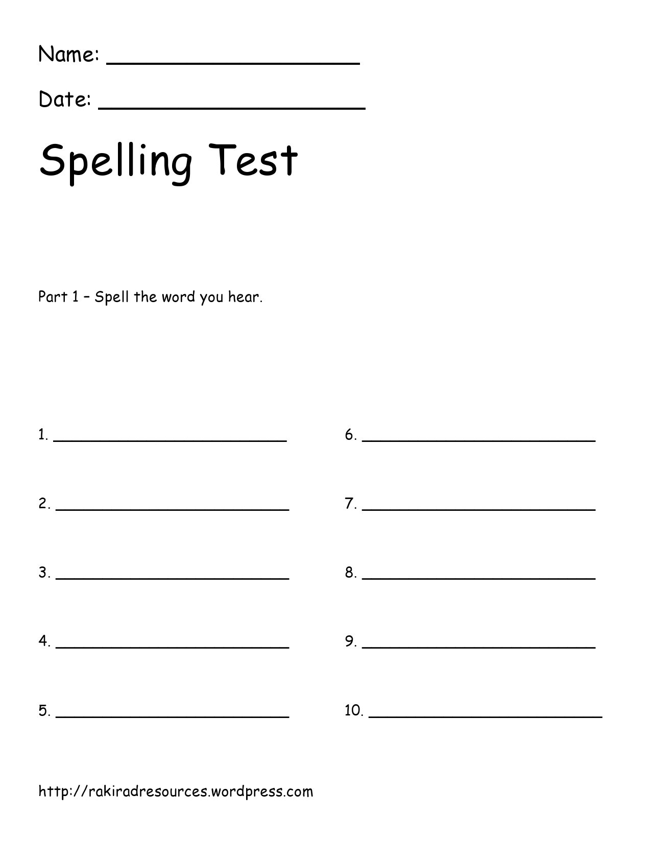 Free spelling test template 28