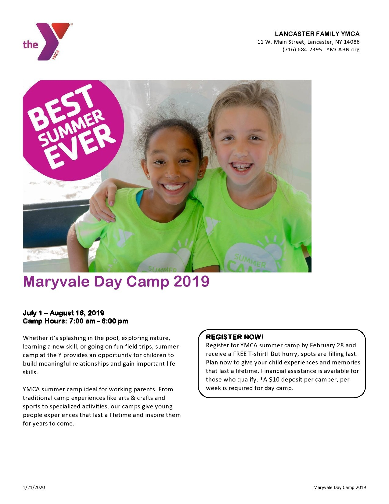 Free summer camp flyer 22