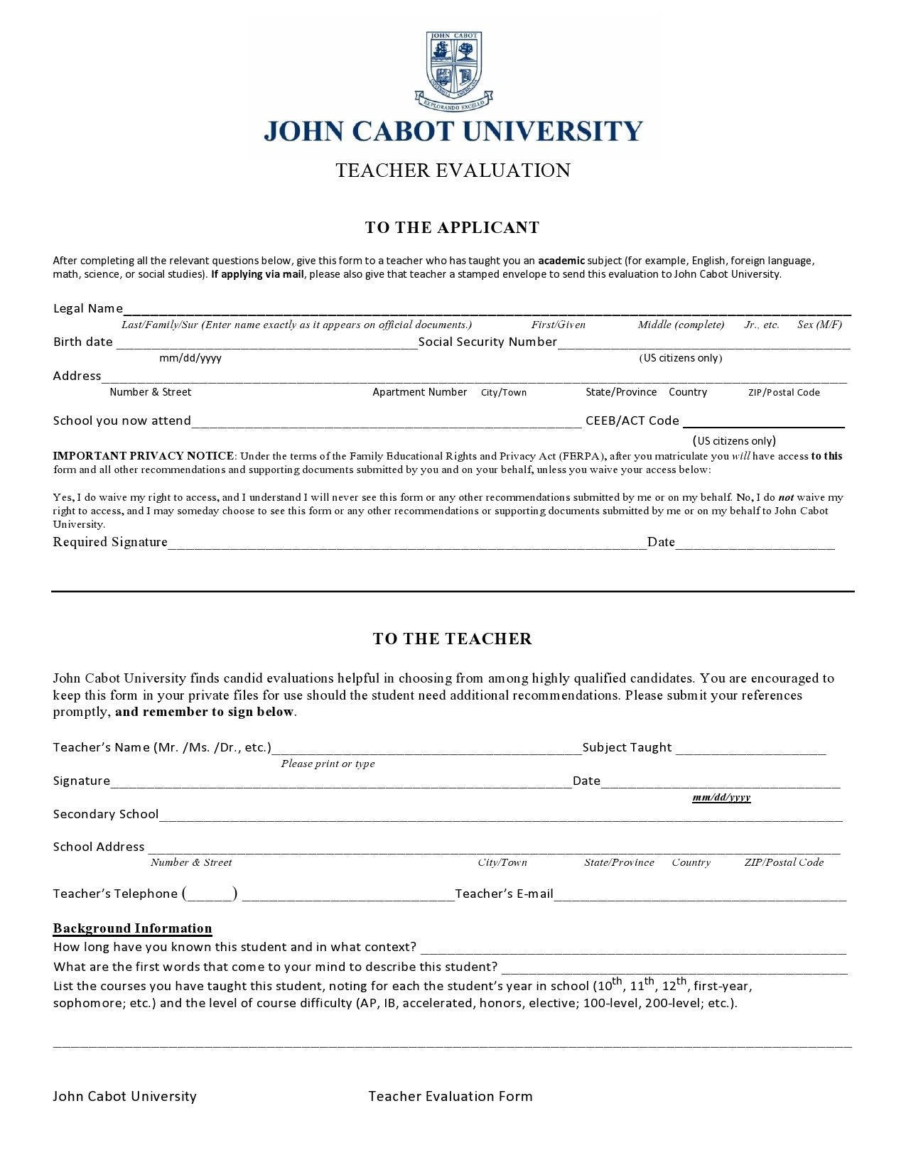 Free teacher evaluation form 06