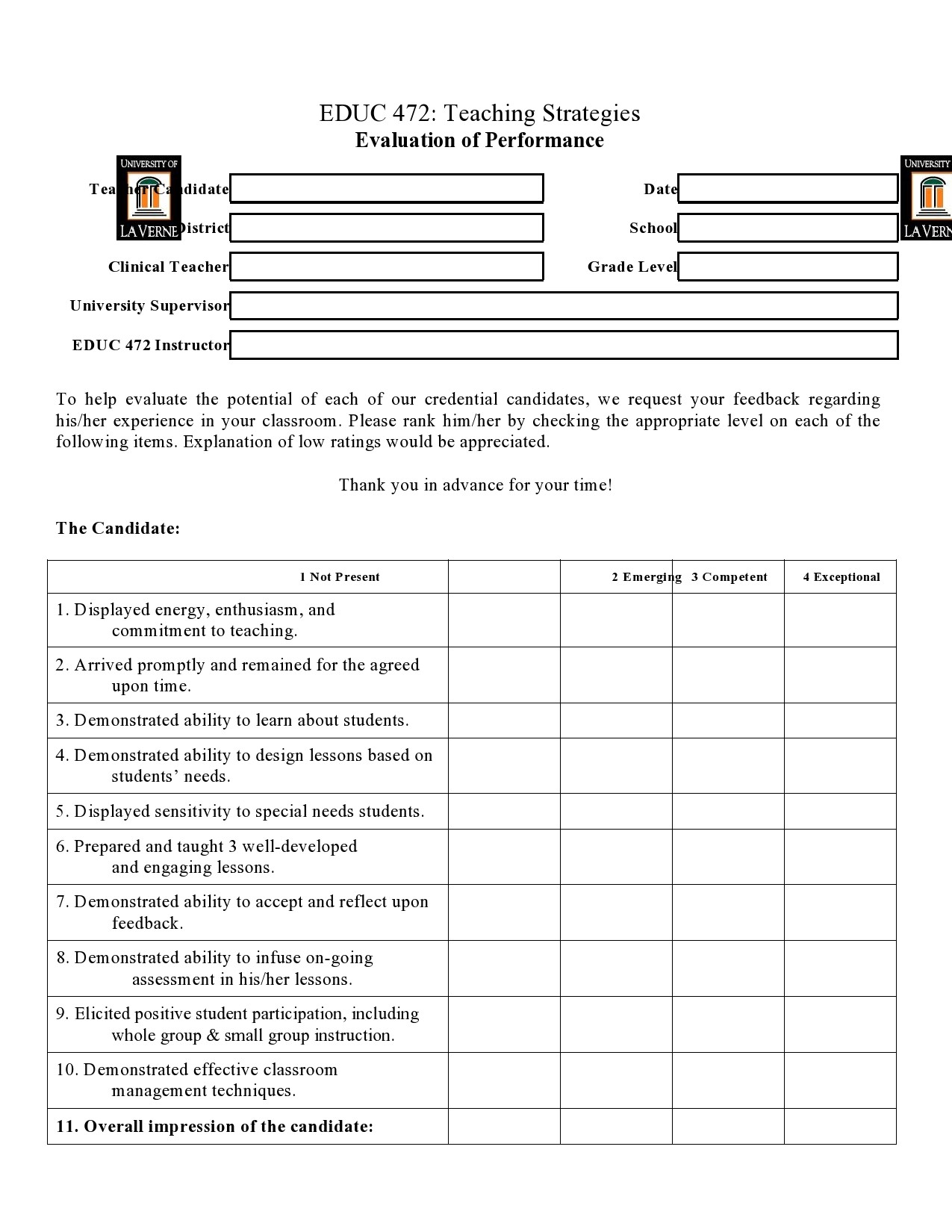 Free teacher evaluation form 08