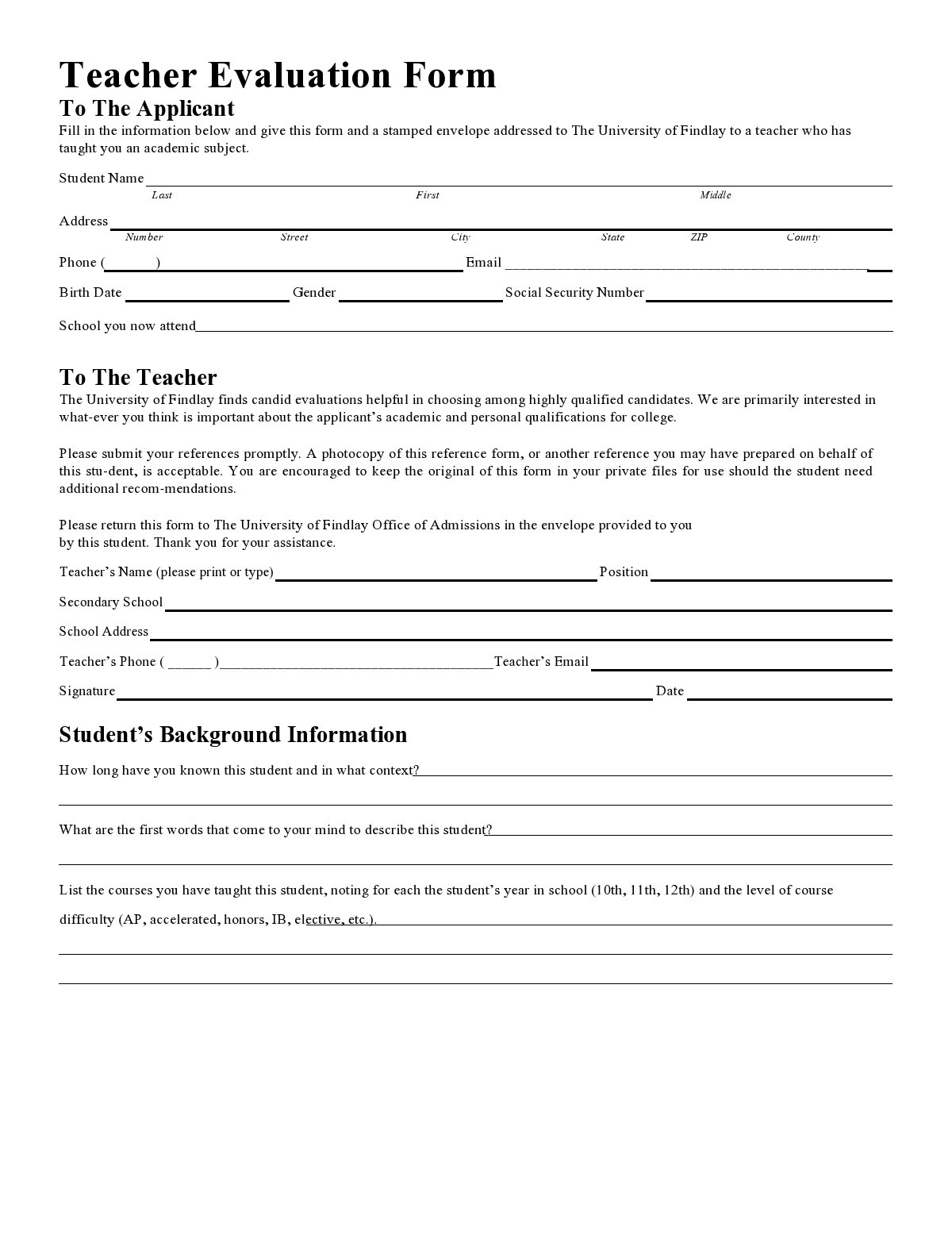 Free teacher evaluation form 09