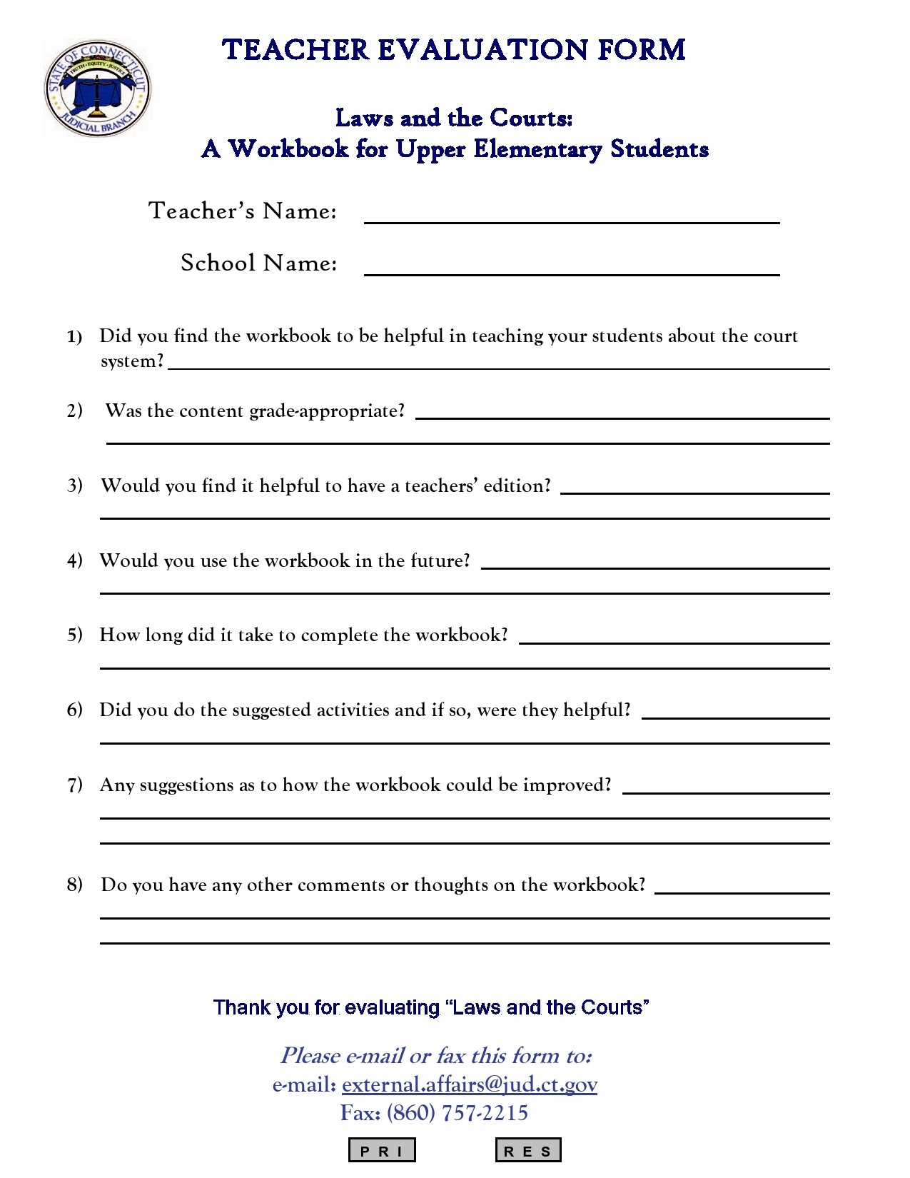 Free teacher evaluation form 13