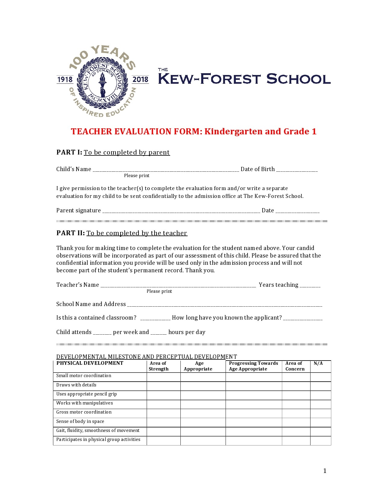 Free teacher evaluation form 19