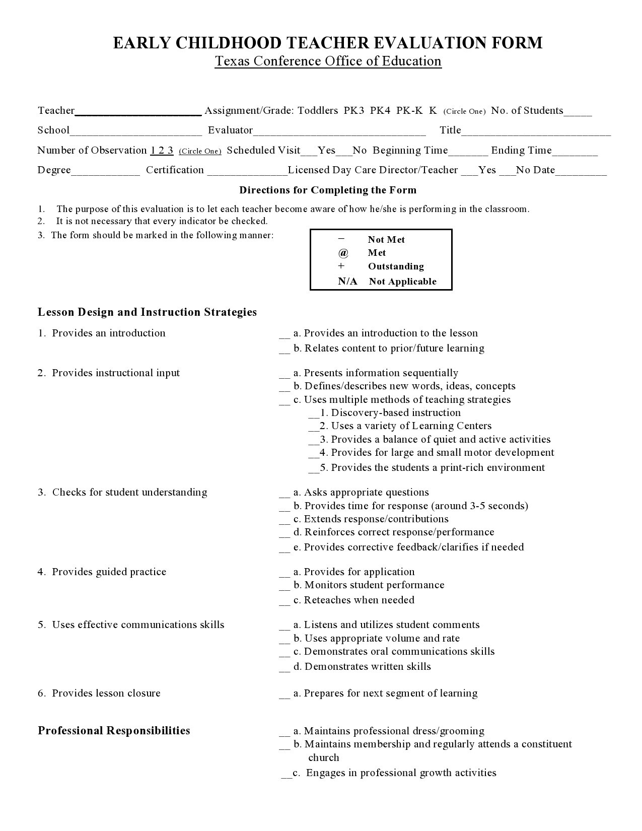 Free teacher evaluation form 20
