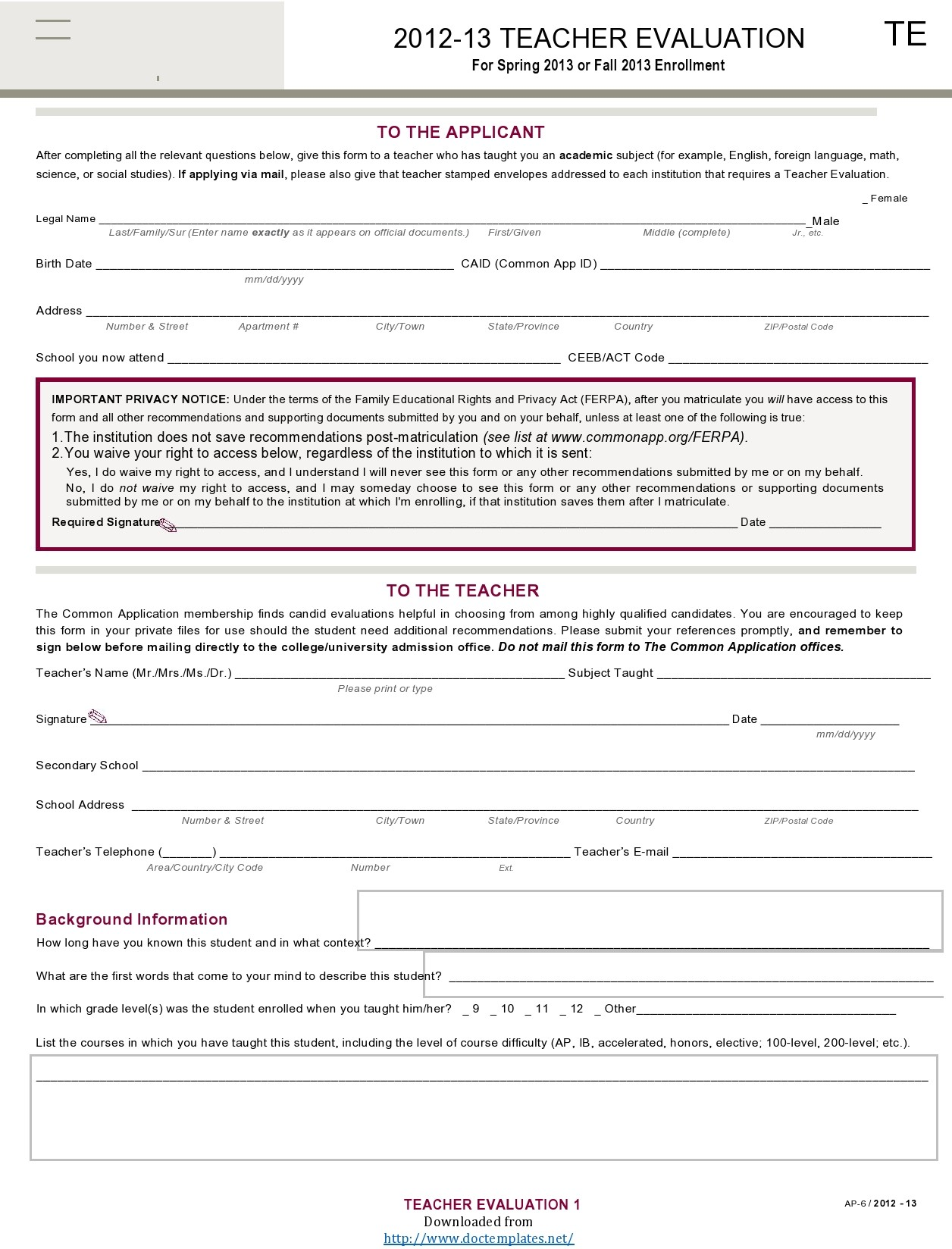 Free teacher evaluation form 28