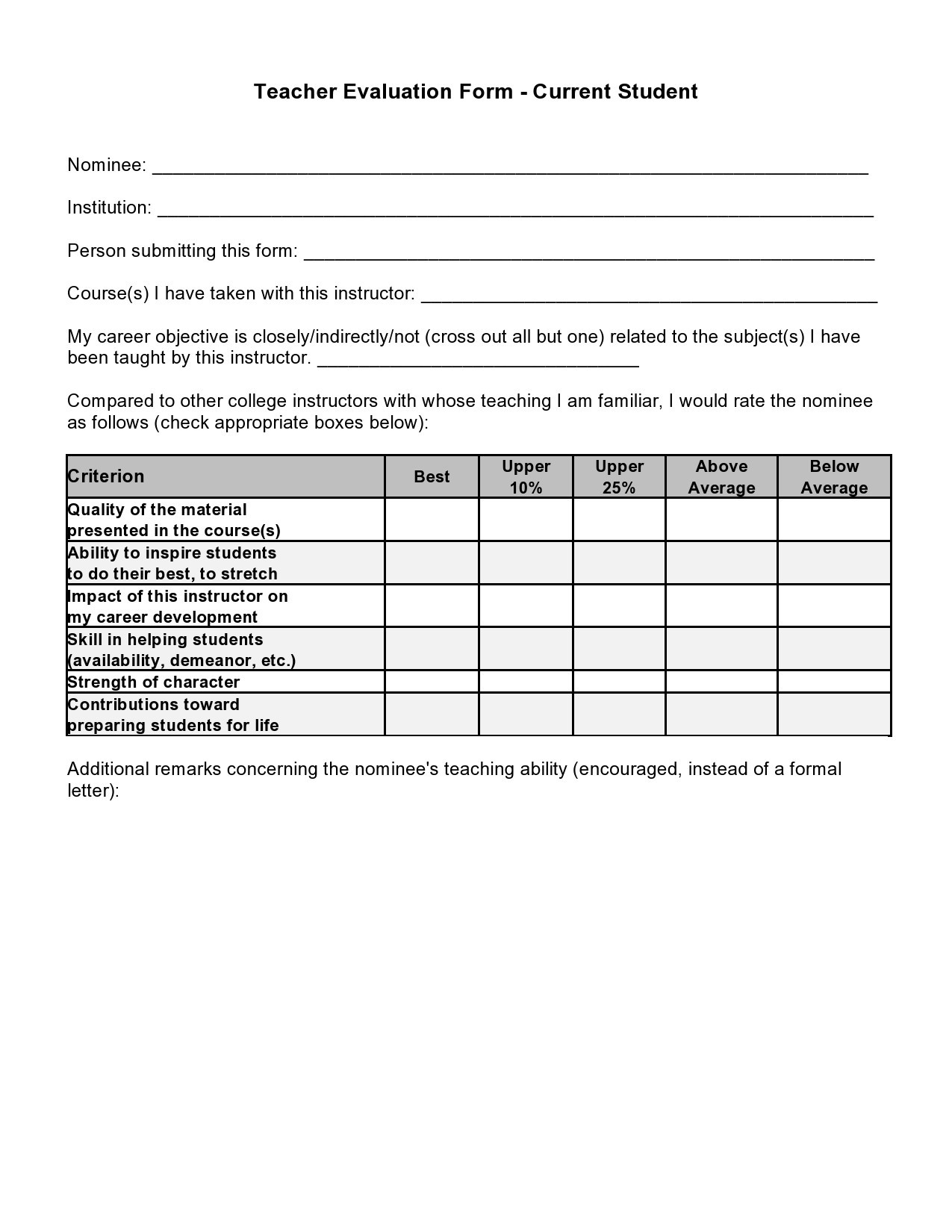 Free teacher evaluation form 39
