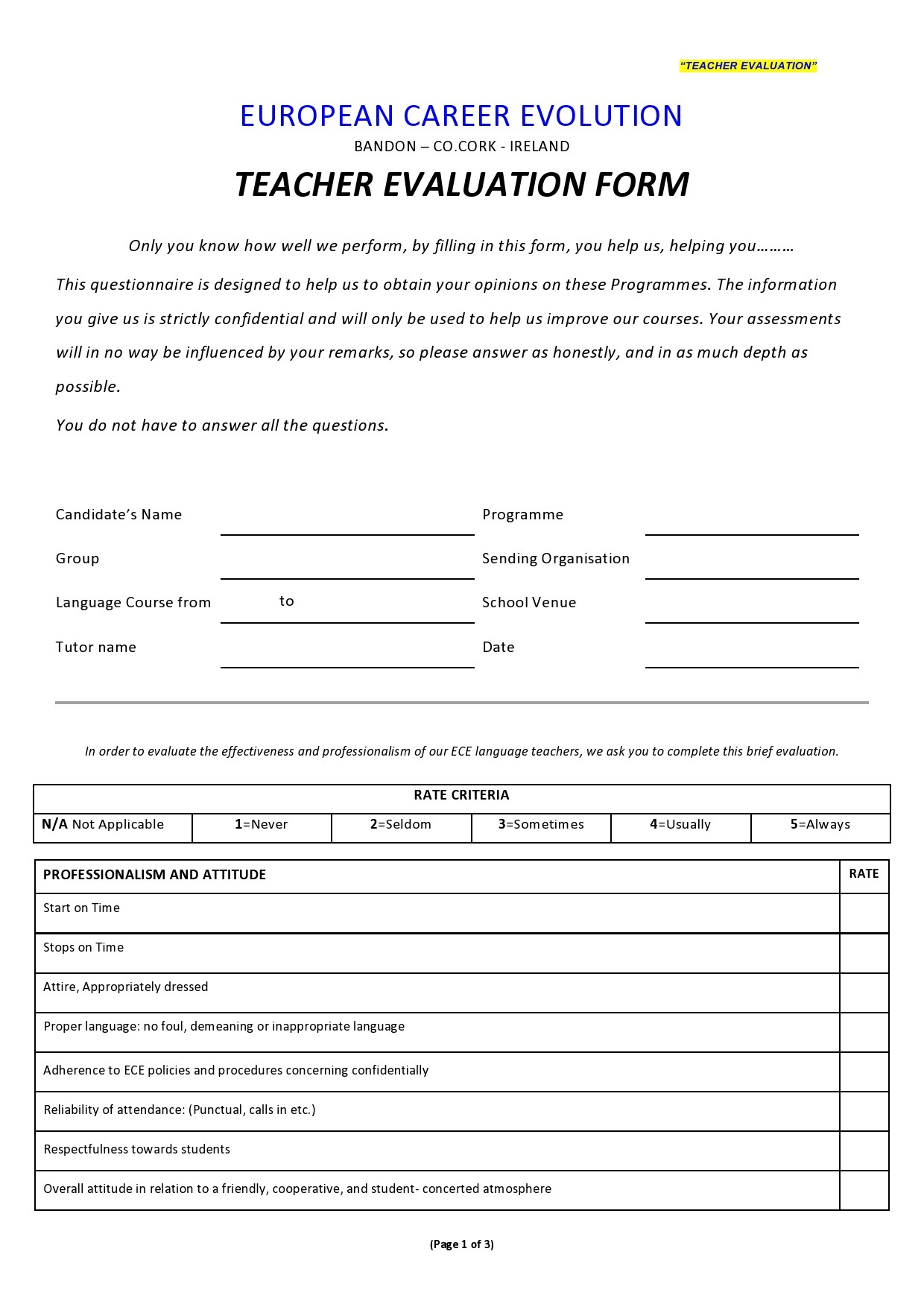 Free teacher evaluation form 41