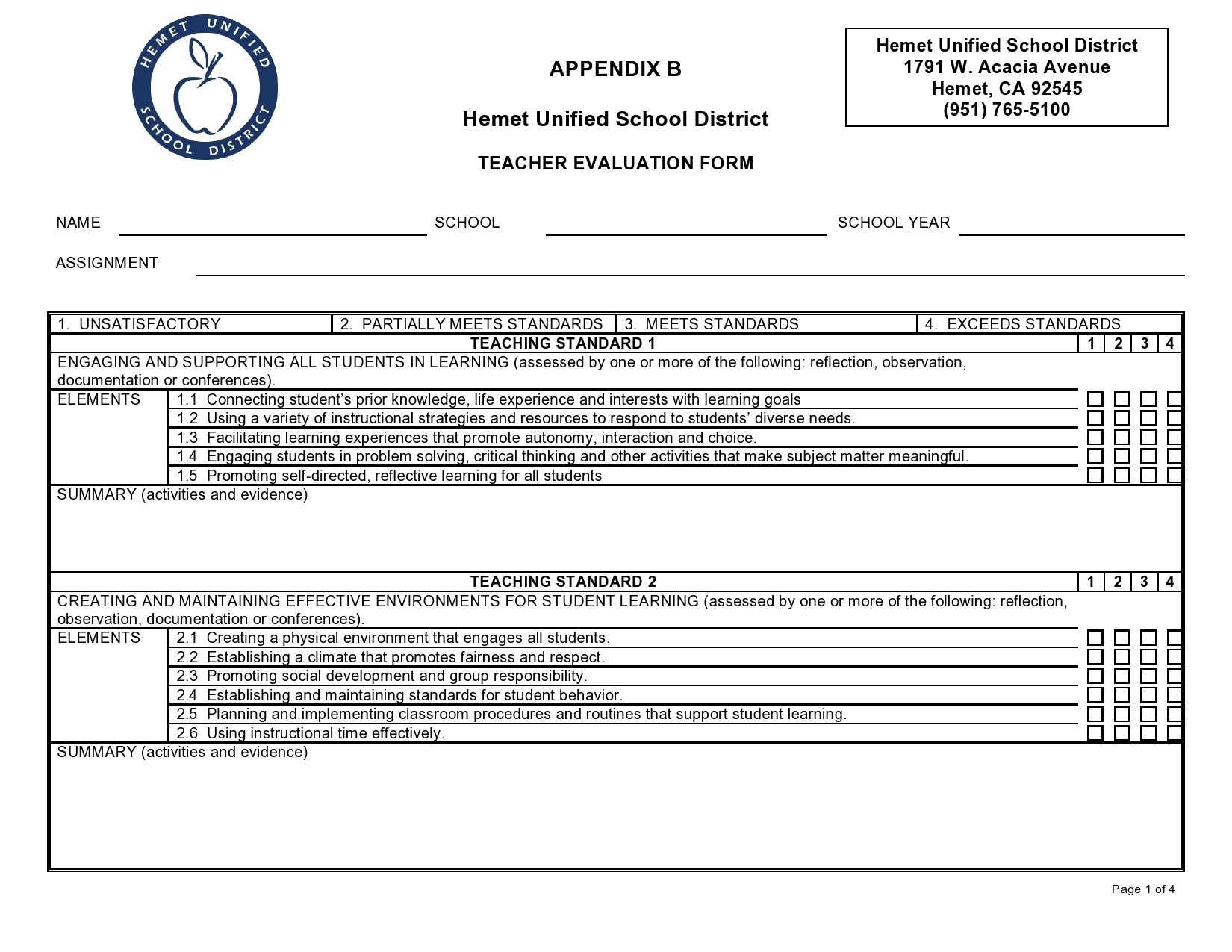 Free teacher evaluation form 42