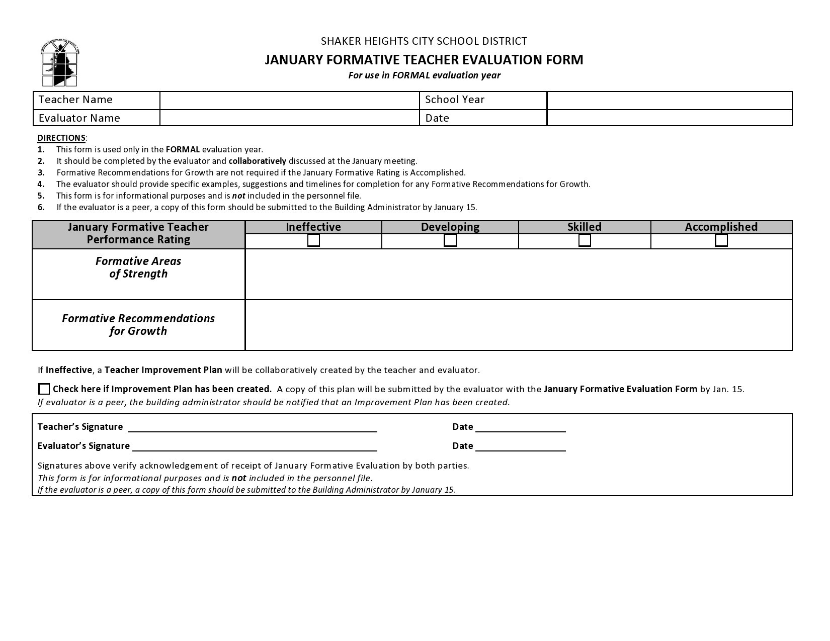 Free teacher evaluation form 44