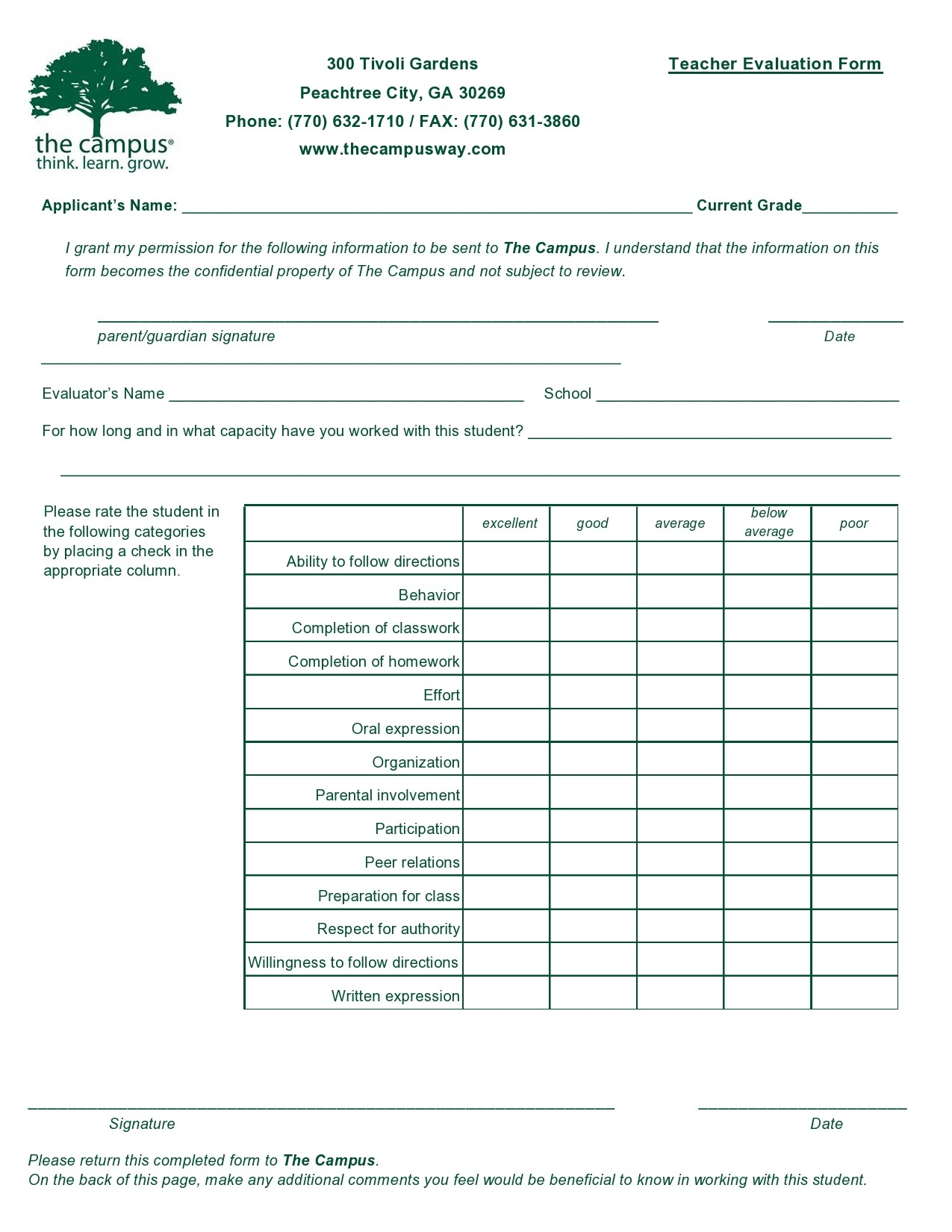 Free teacher evaluation form 50