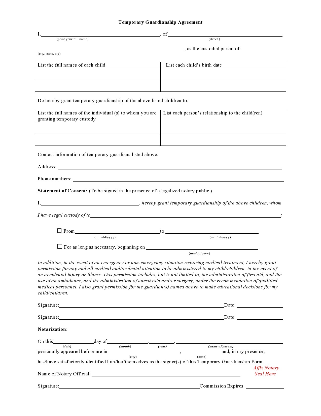 Free temporary guardianship form 01