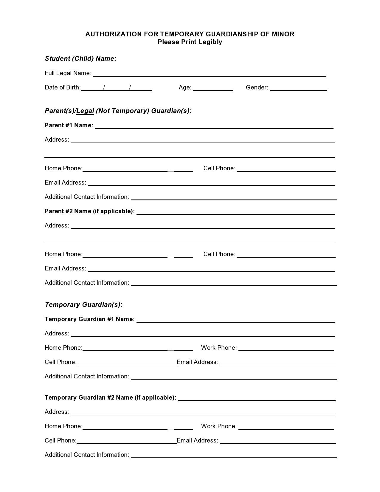 Free temporary guardianship form 06