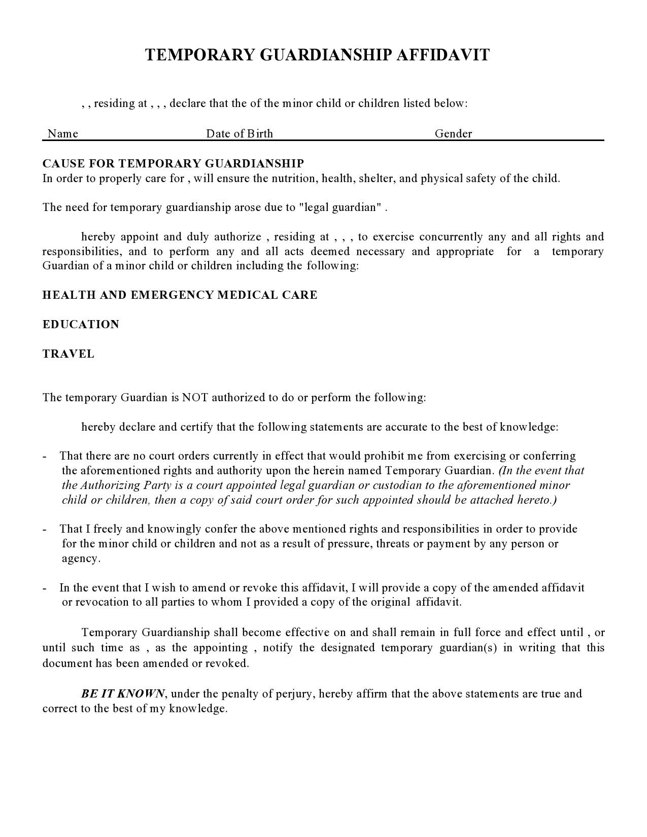 Free temporary guardianship form 11