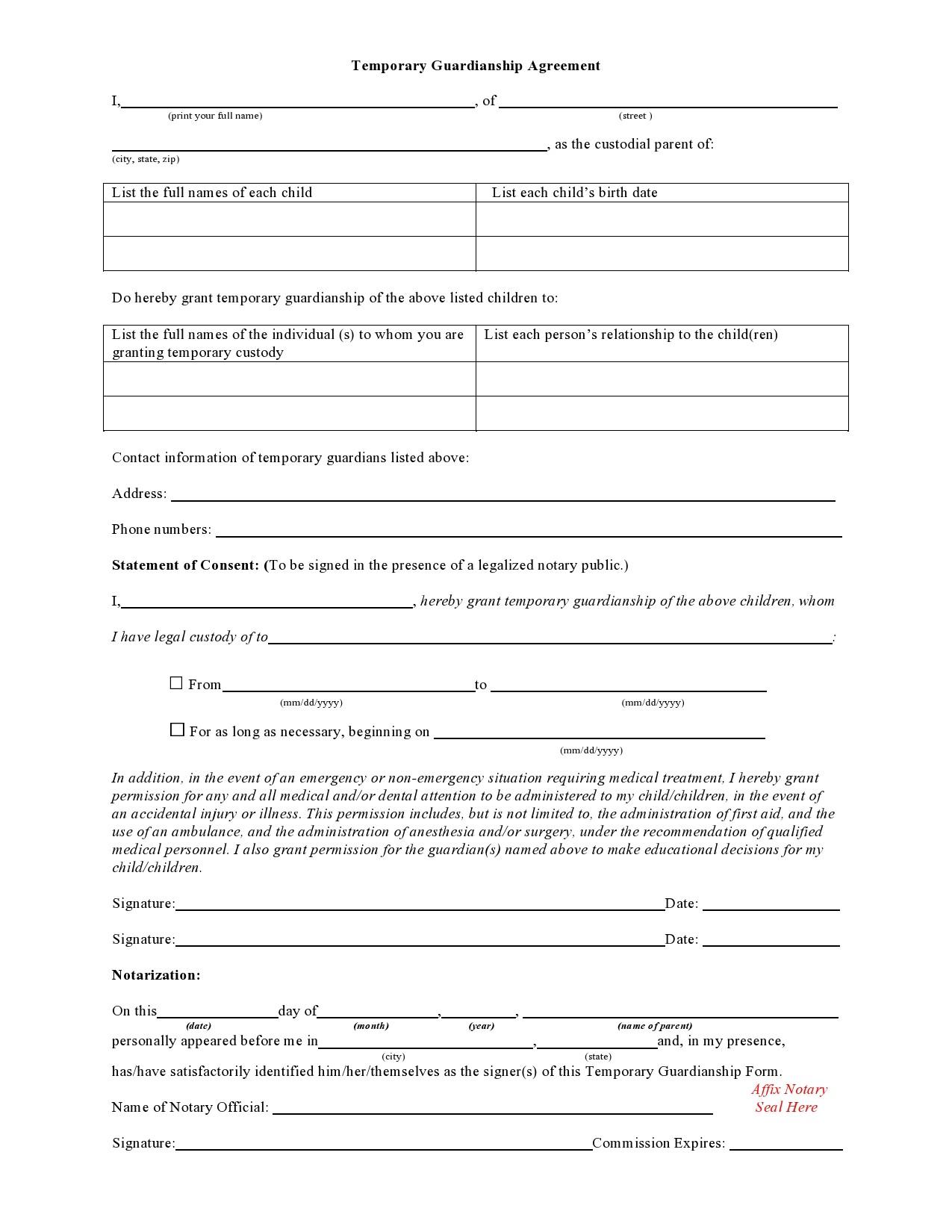 Free temporary guardianship form 22