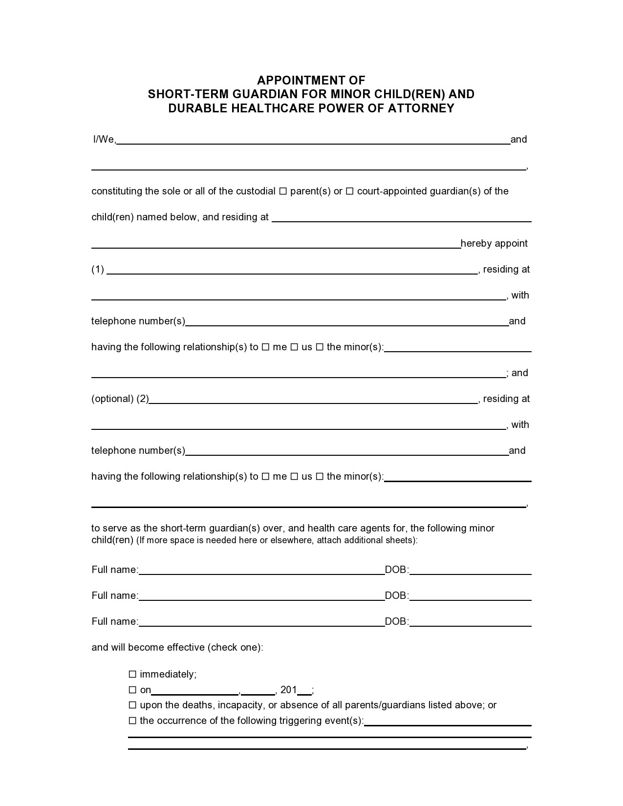 Free temporary guardianship form 25