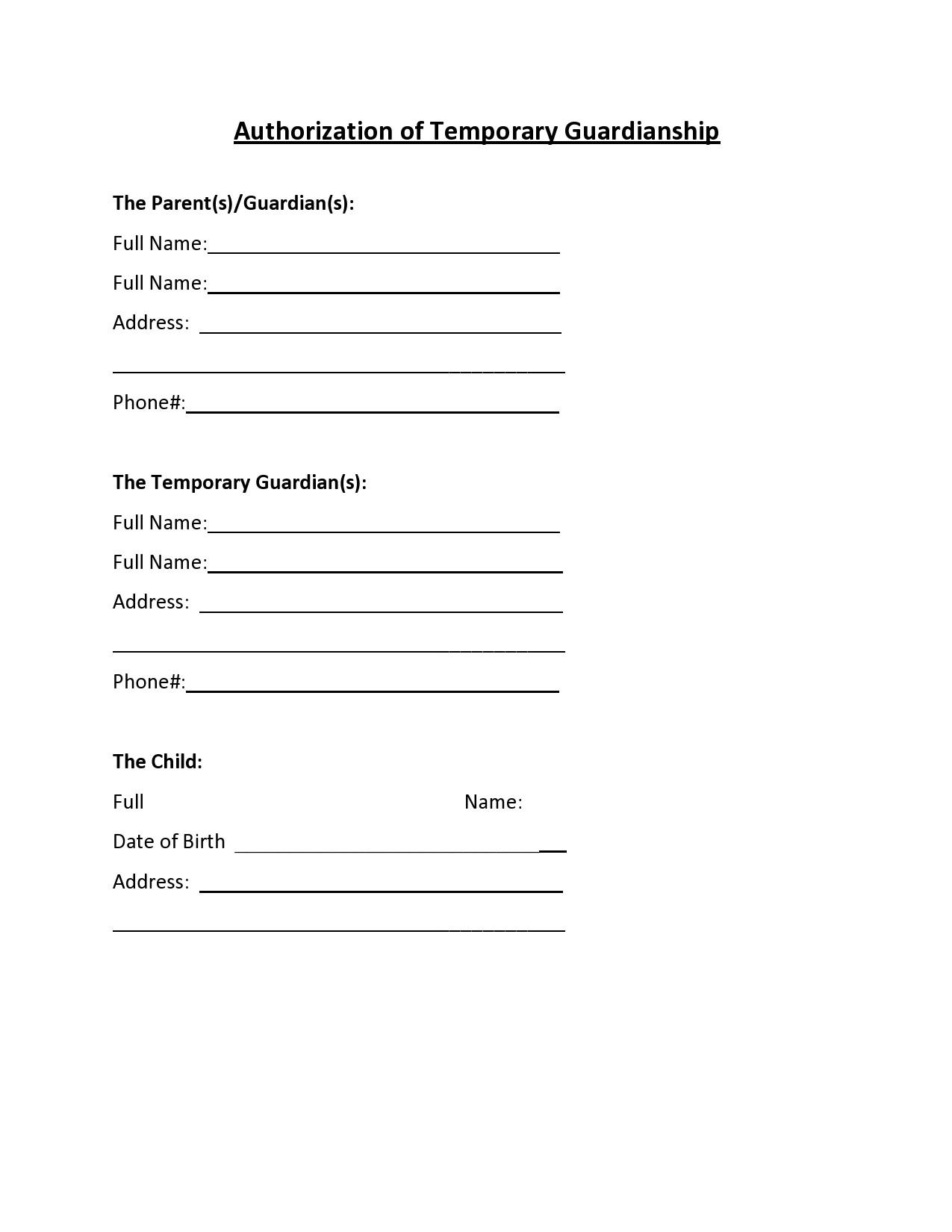 Free temporary guardianship form 36