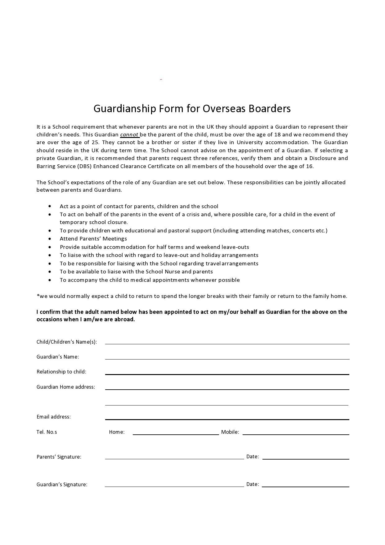 Free temporary guardianship form 40
