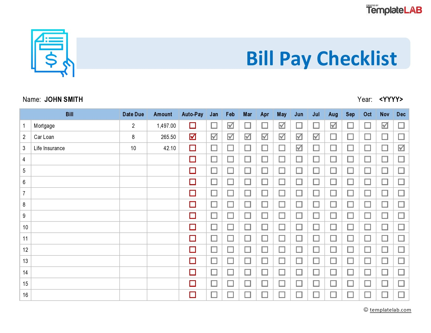 Free Bill Pay Checklist