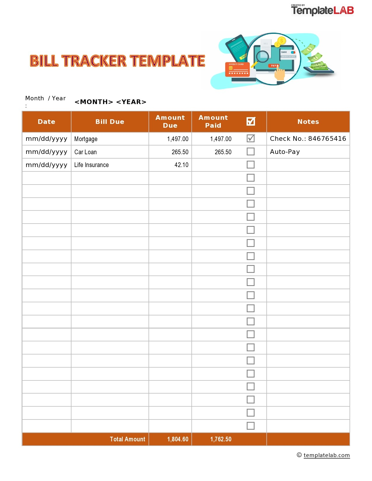 Free Bill Tracker Template