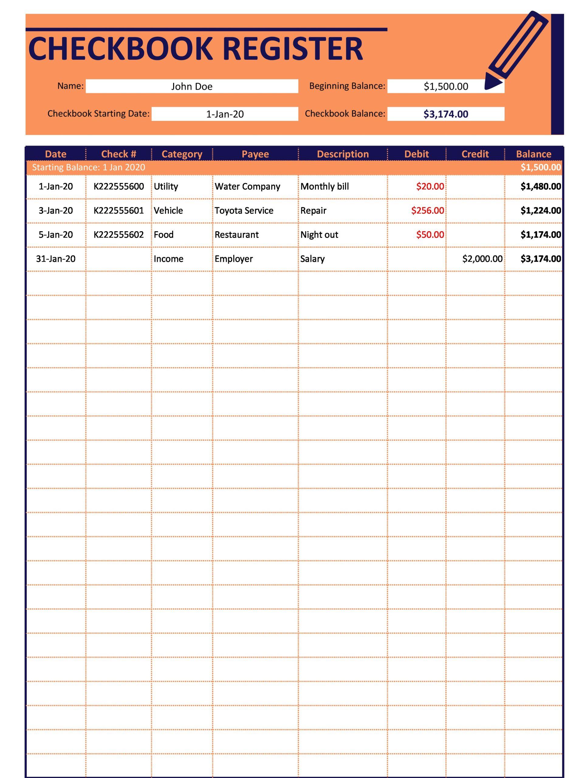 Free Checkbook Register 02