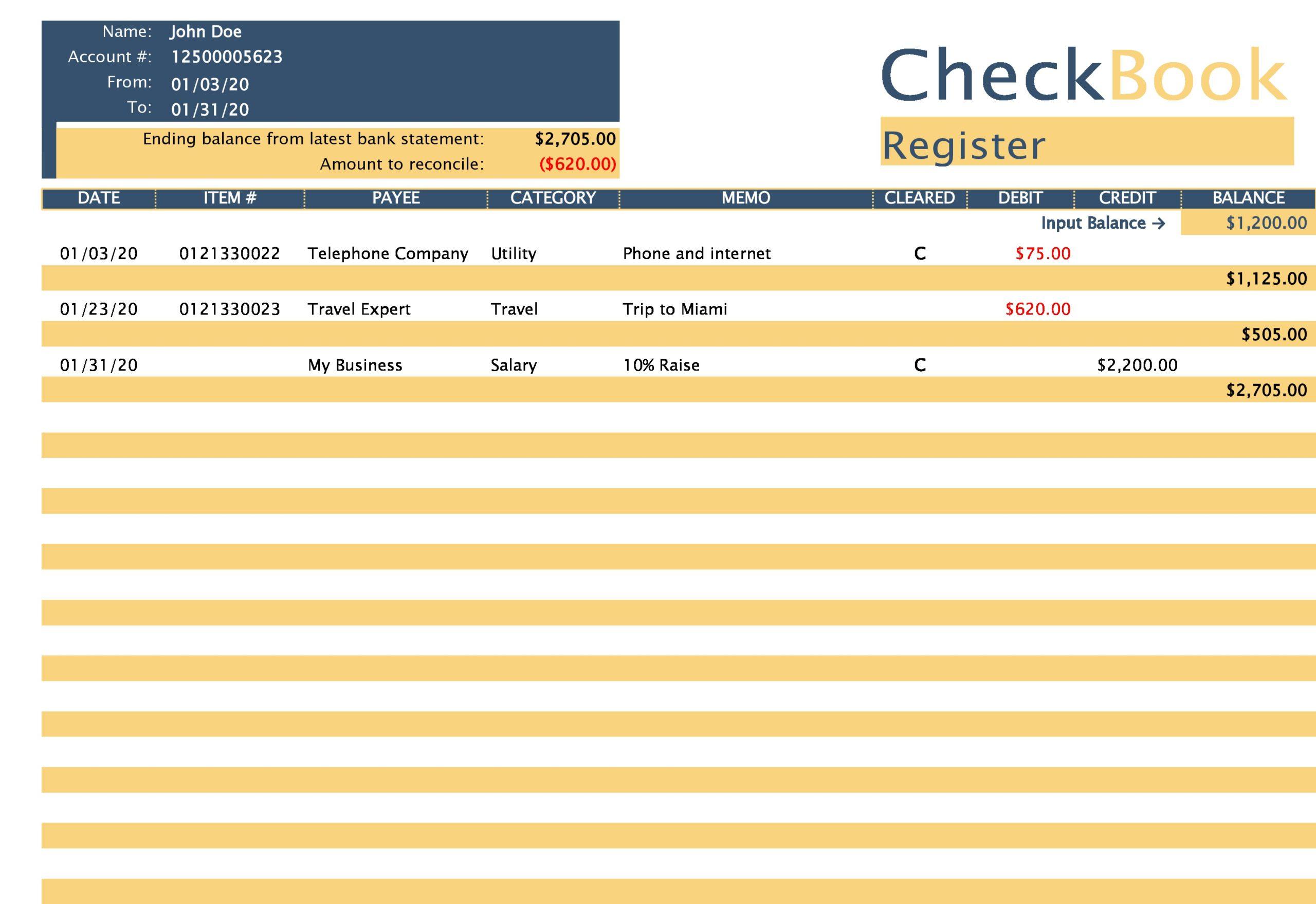 Free Checkbook Register 03