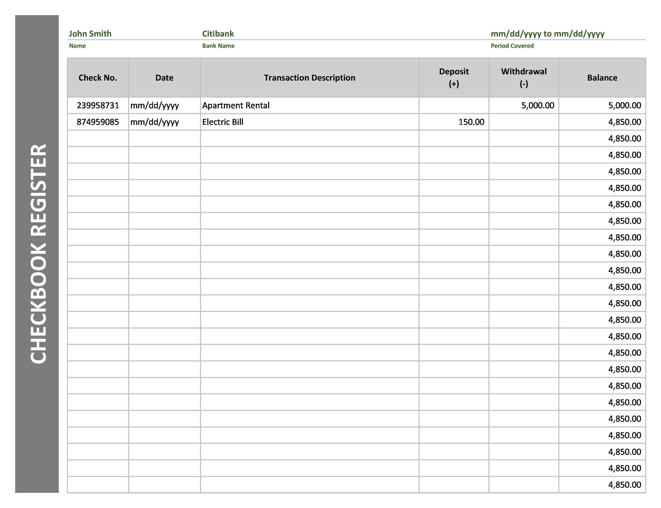 Free Checkbook Register 04