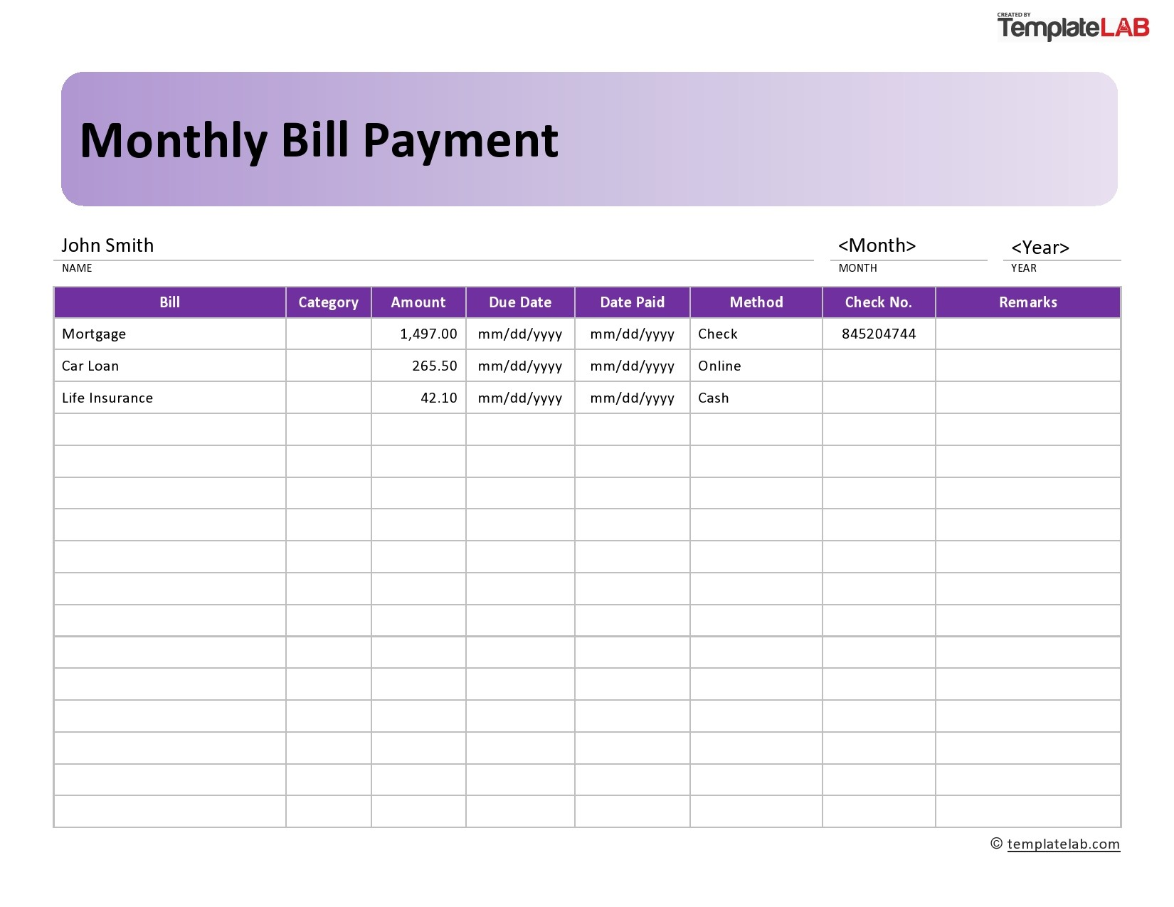 Free Monthly Bill Payment 02