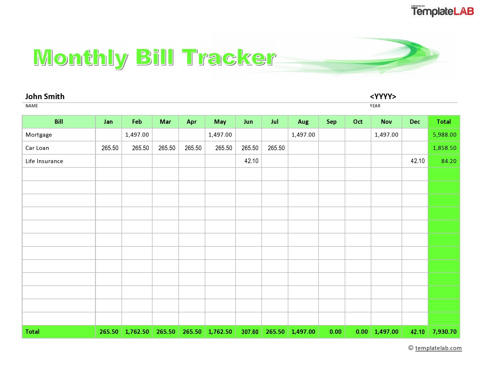 Free Monthly Bill Tracker  02