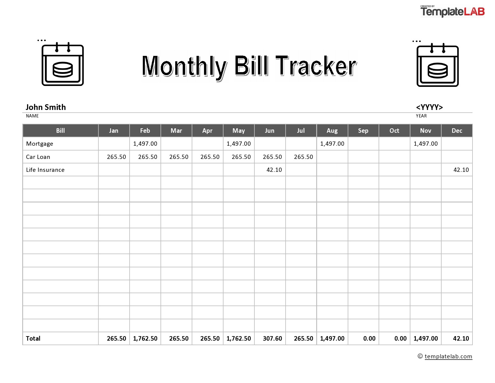 Free Monthly Bill Tracker