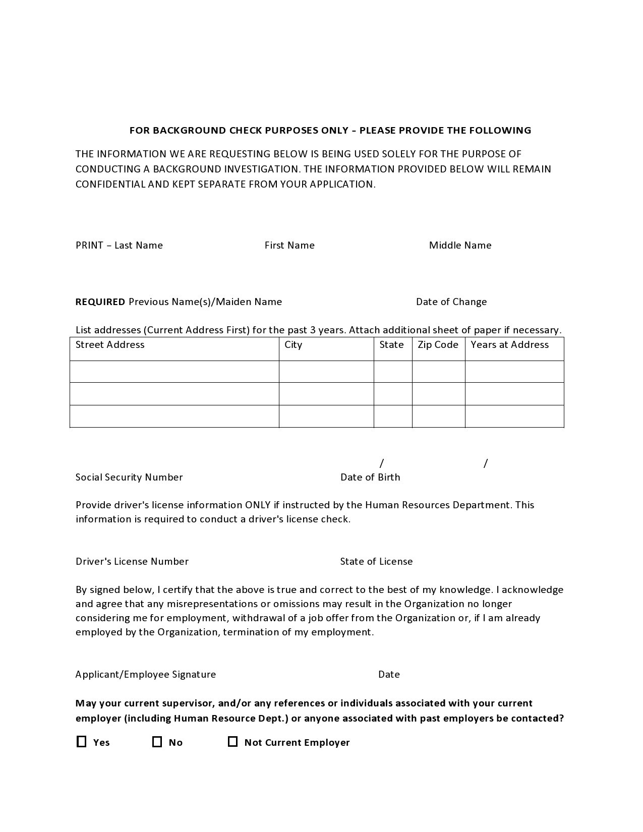 Free background check form 04
