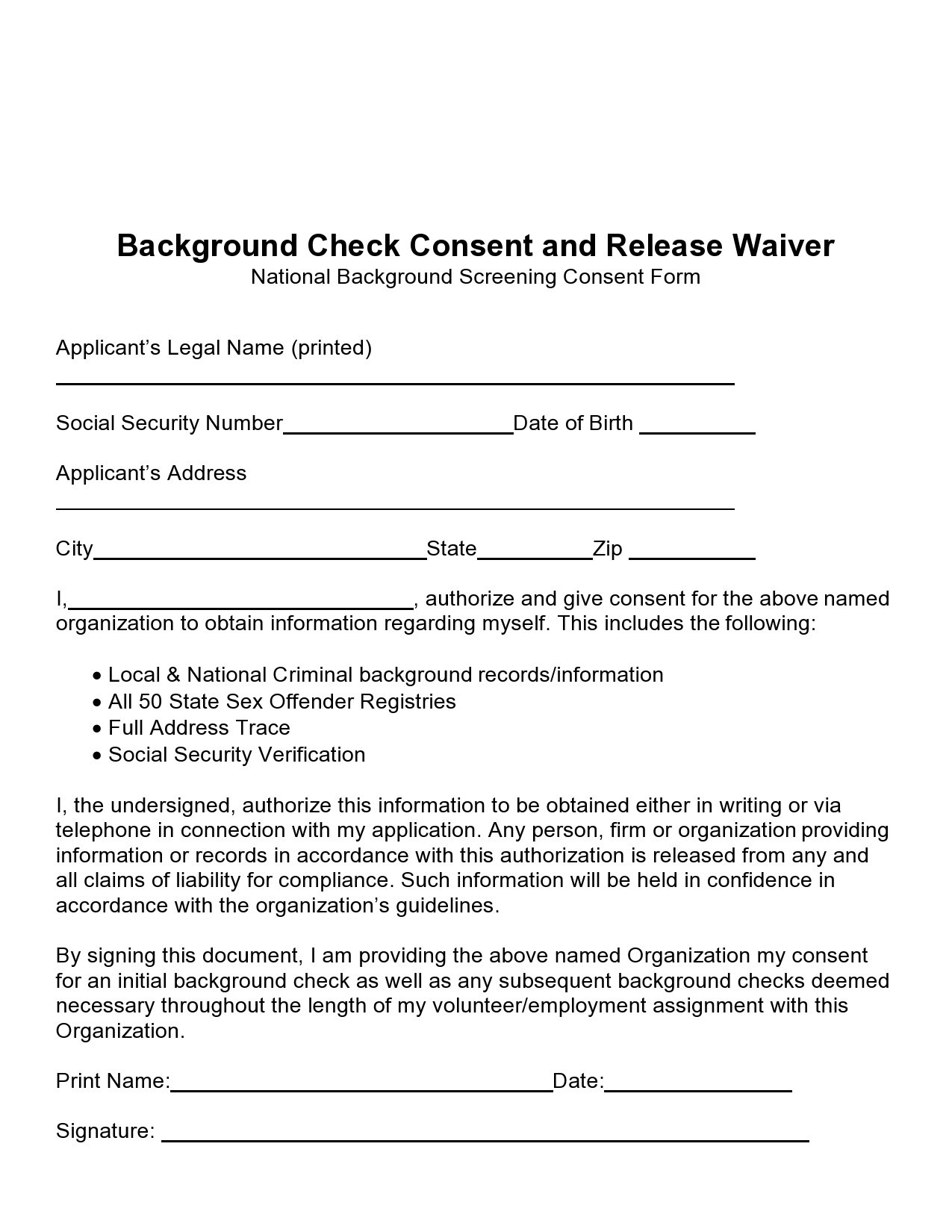Free background check form 05