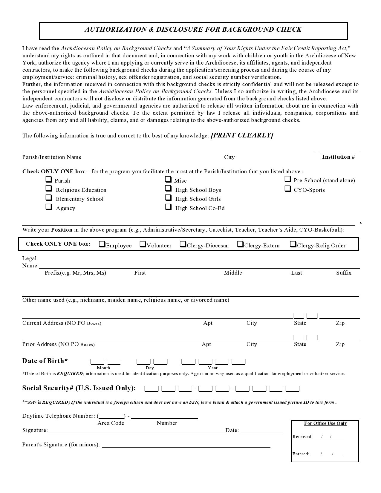 Free background check form 06