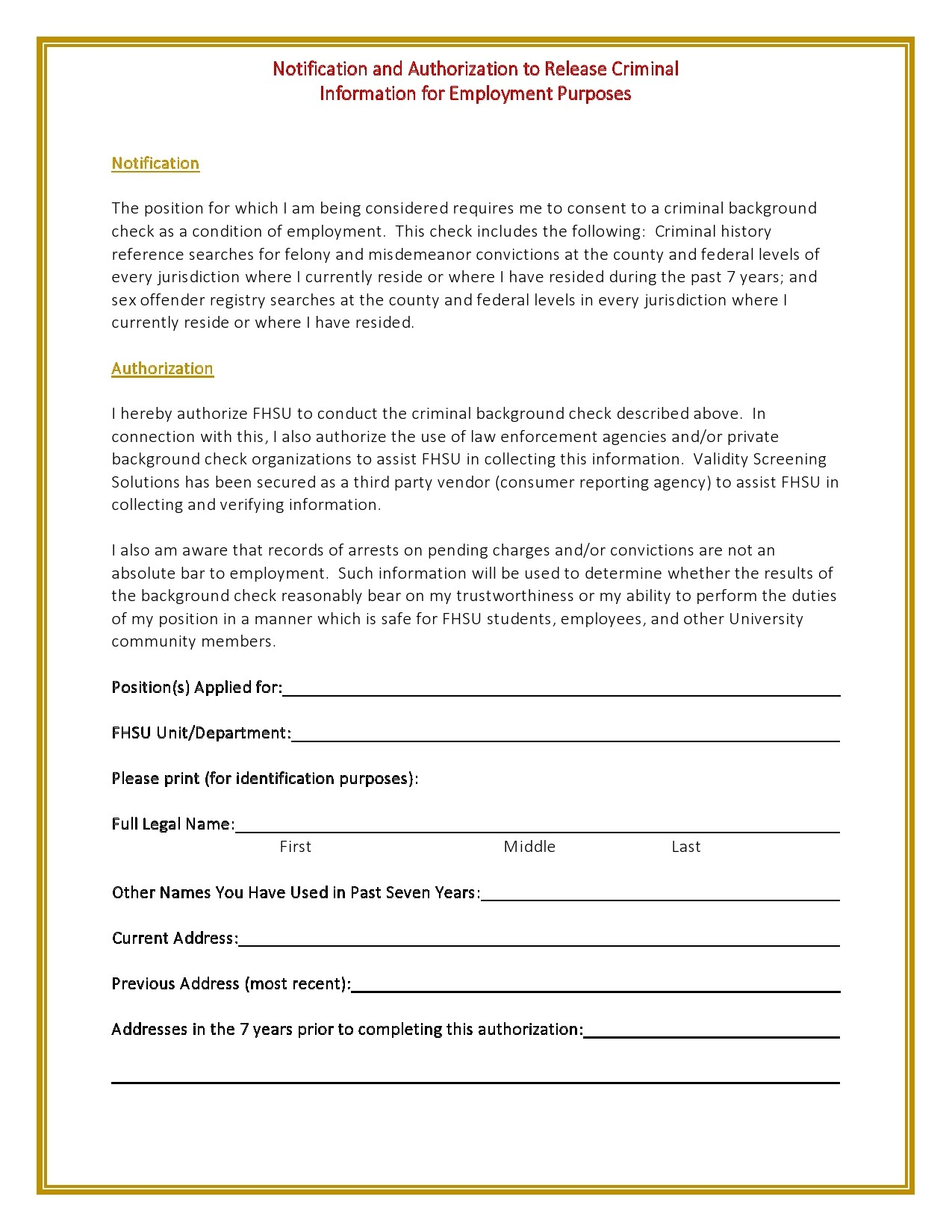 Free background check form 08